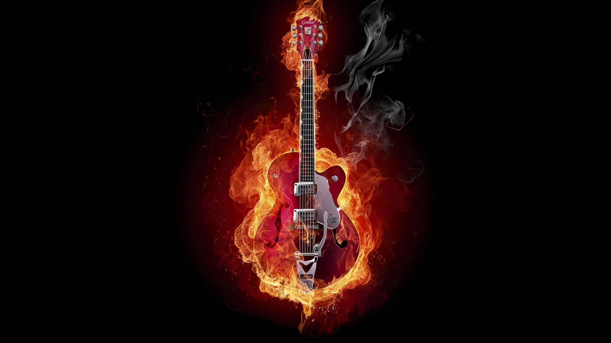 Preview wallpaper guitar, fire, instrument, smoke, background 2560×1440