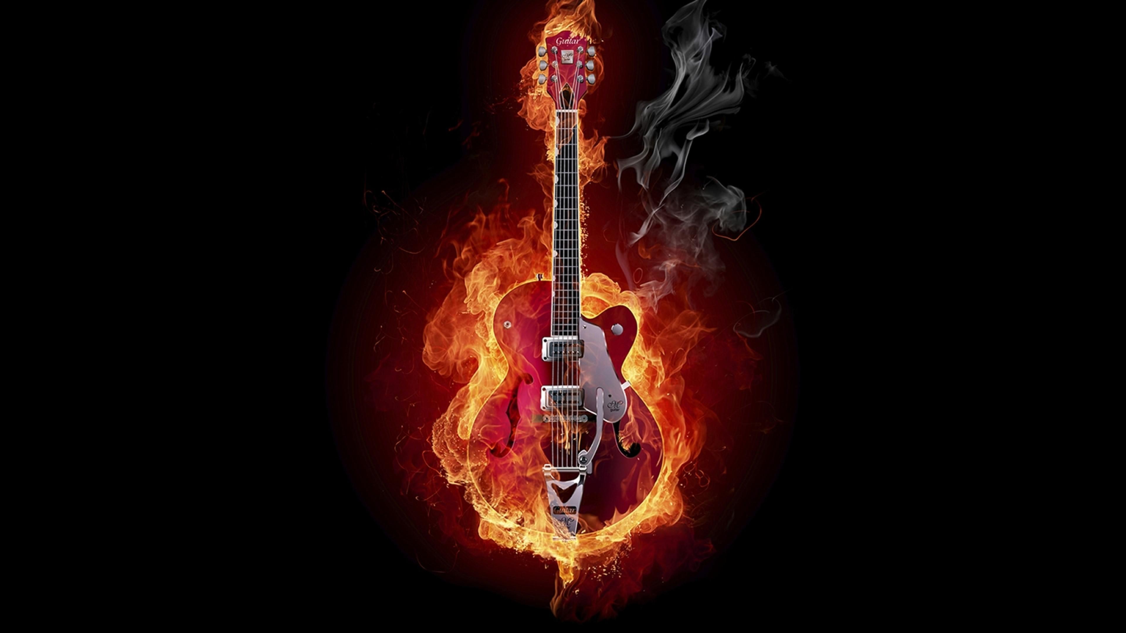 Preview wallpaper guitar, fire, instrument, smoke, background 3840×2160