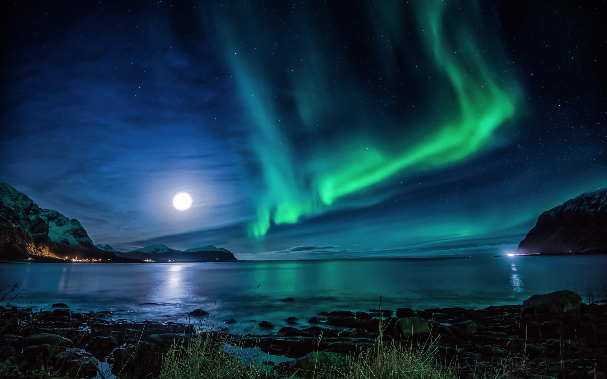 Aurora Borealis Moon Night