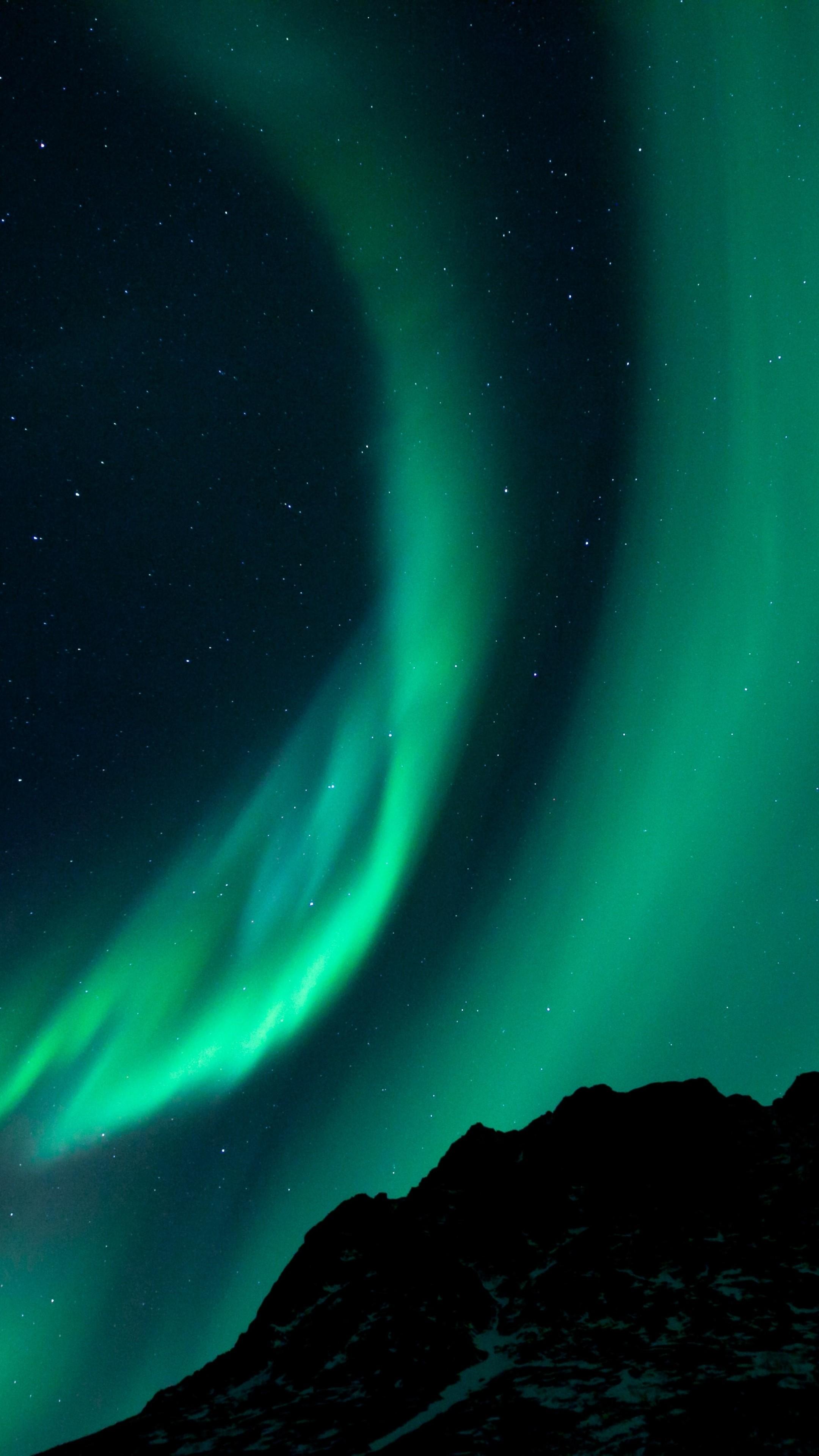 Wallpaper northern lights, night, night sky, phenomenon