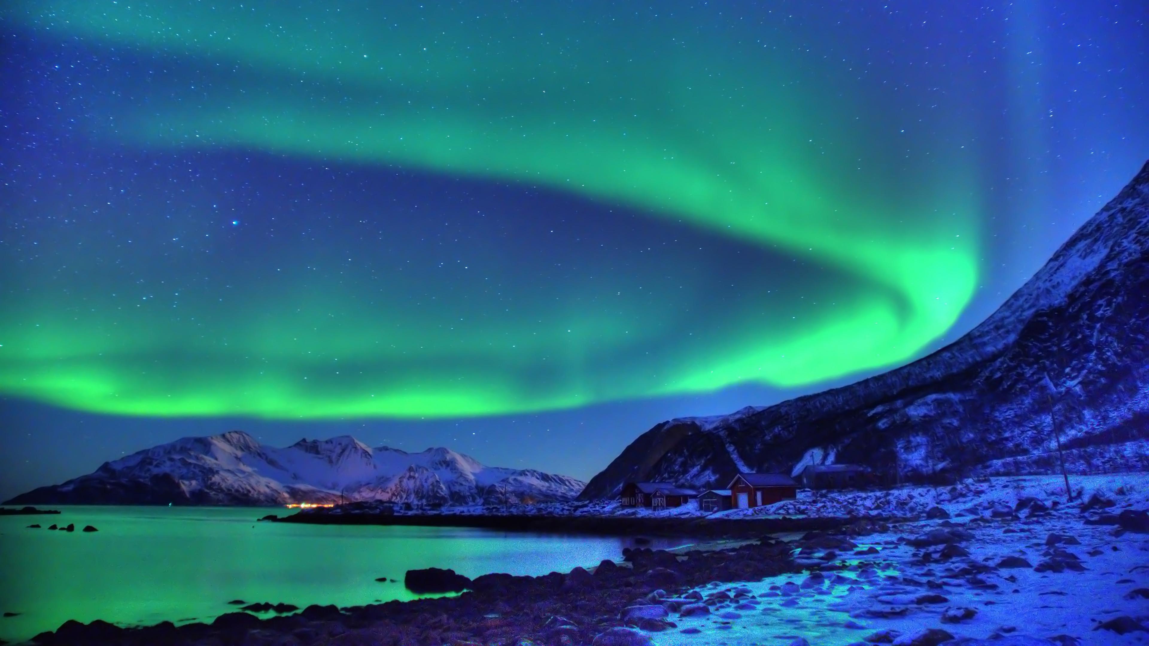 Earth – Aurora Borealis Snow Night Wallpaper