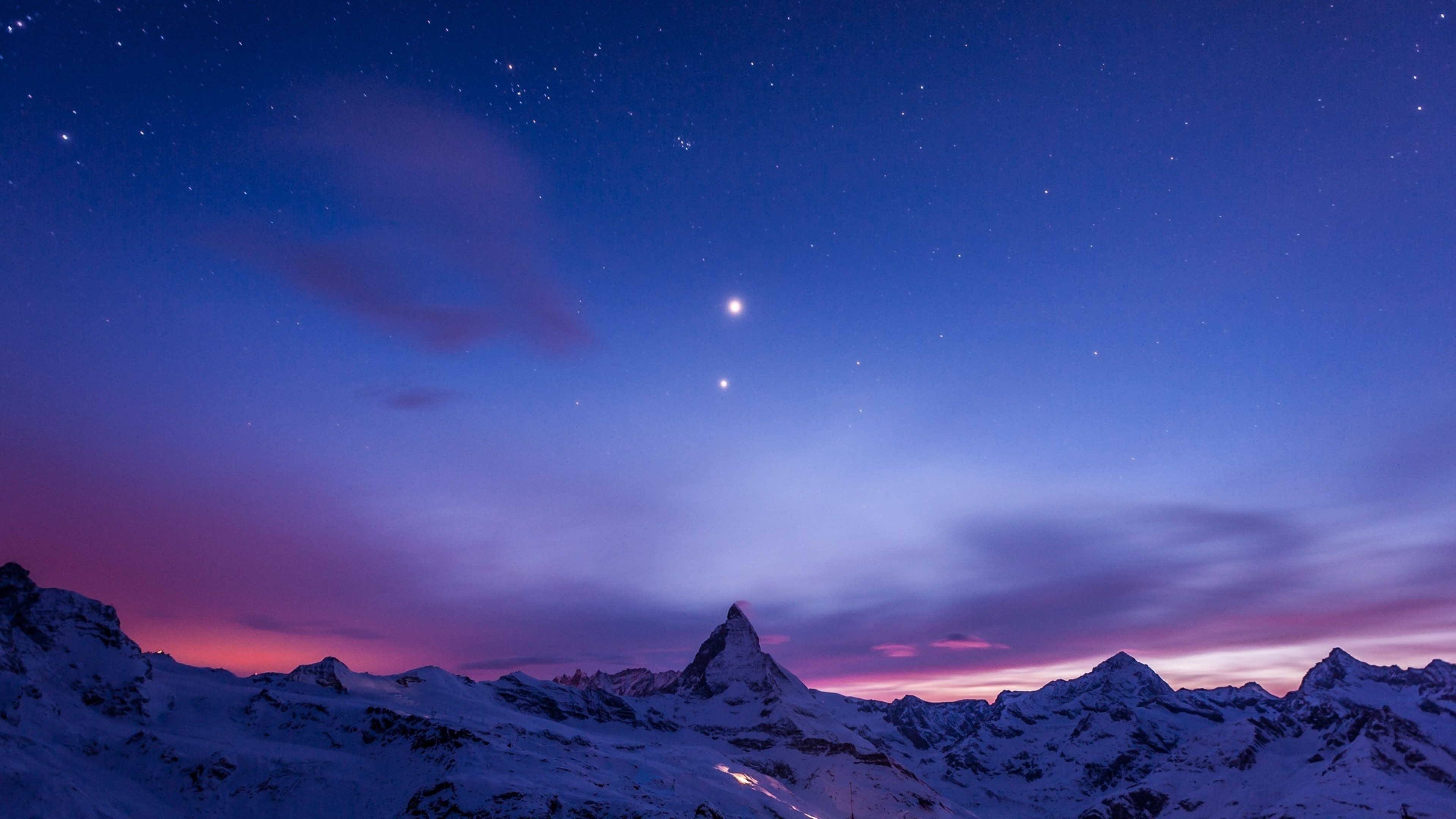 Preview wallpaper night, mountains, snow, sky, stars 3840×2160