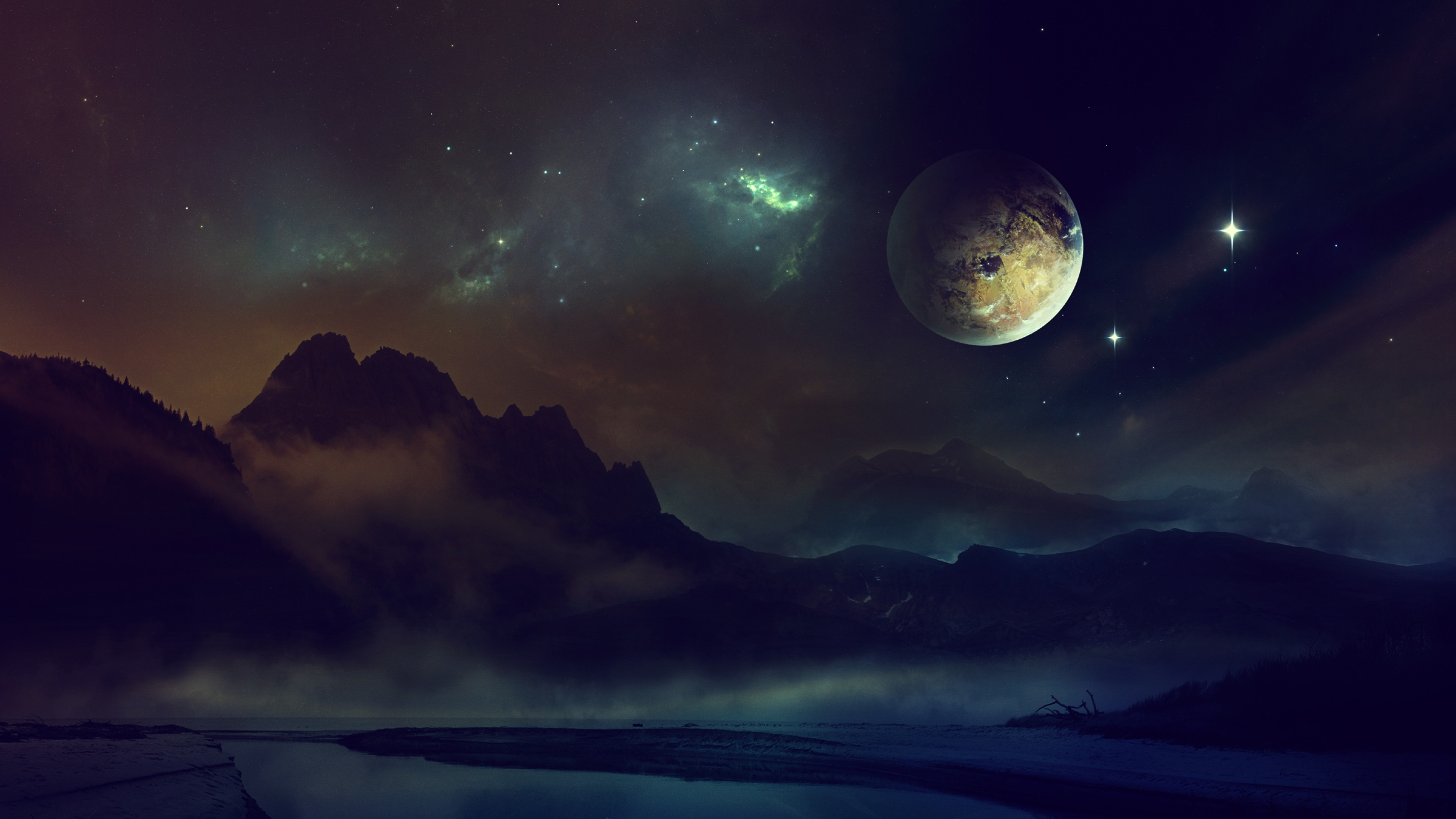 Wallpaper space, planet, light, night, sky