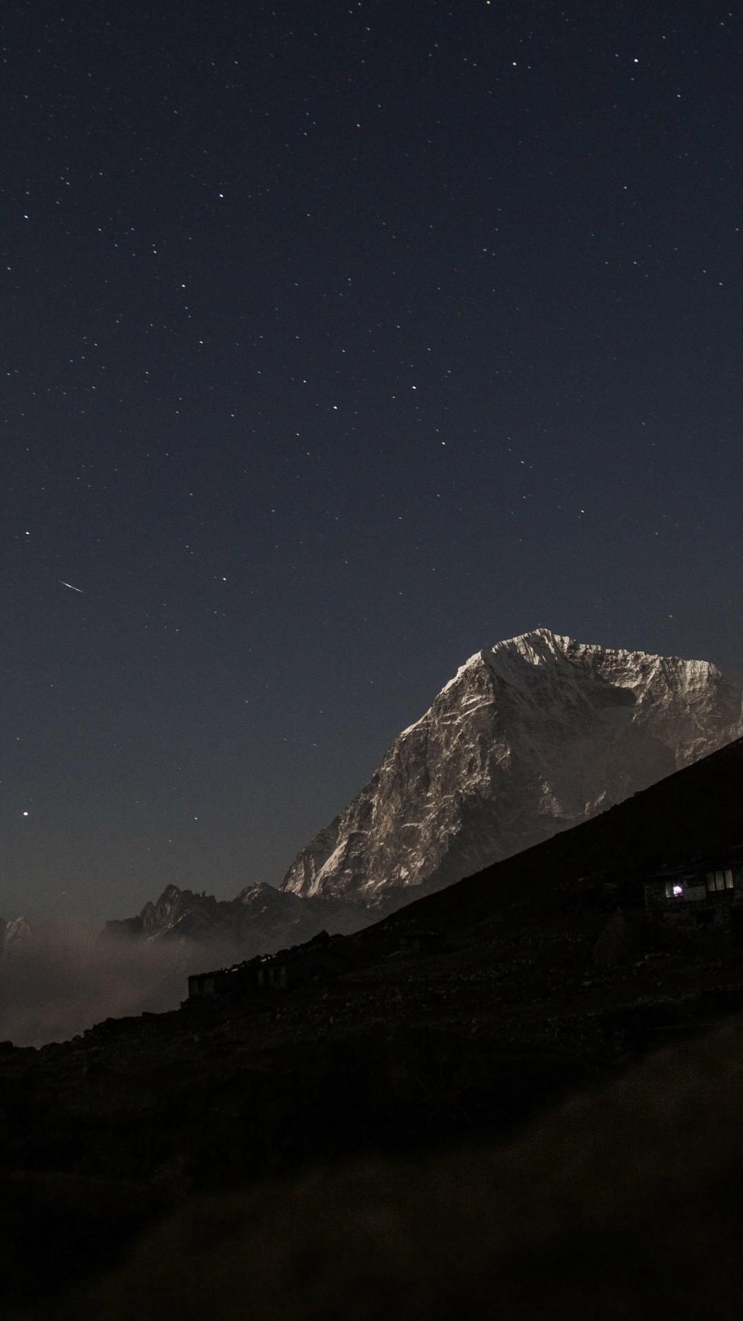 Night Sky Near Mountain 4K Wallpaper