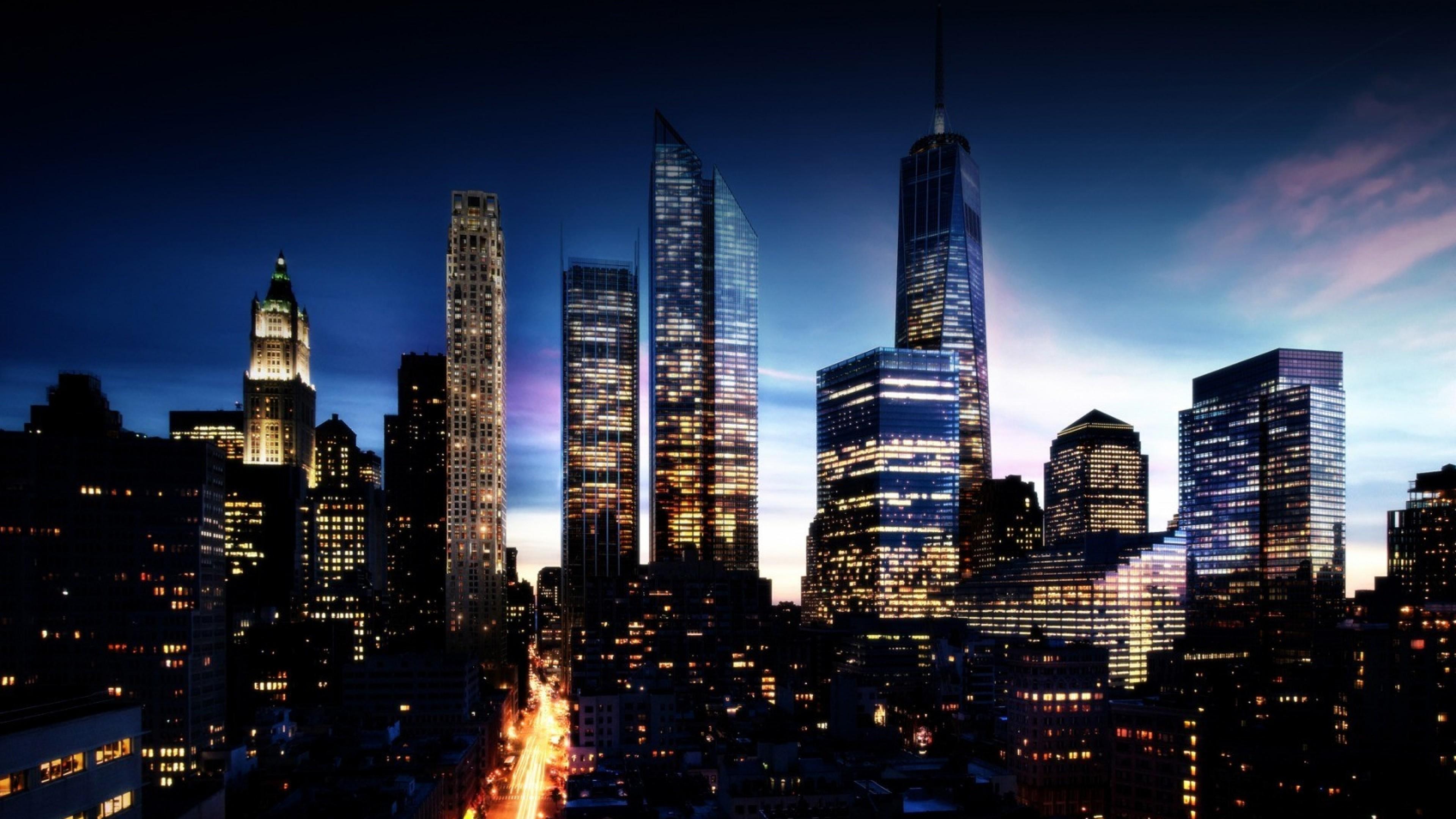Lights, City lights, Buildings, Sky Wallpaper, Background 4K Ultra .