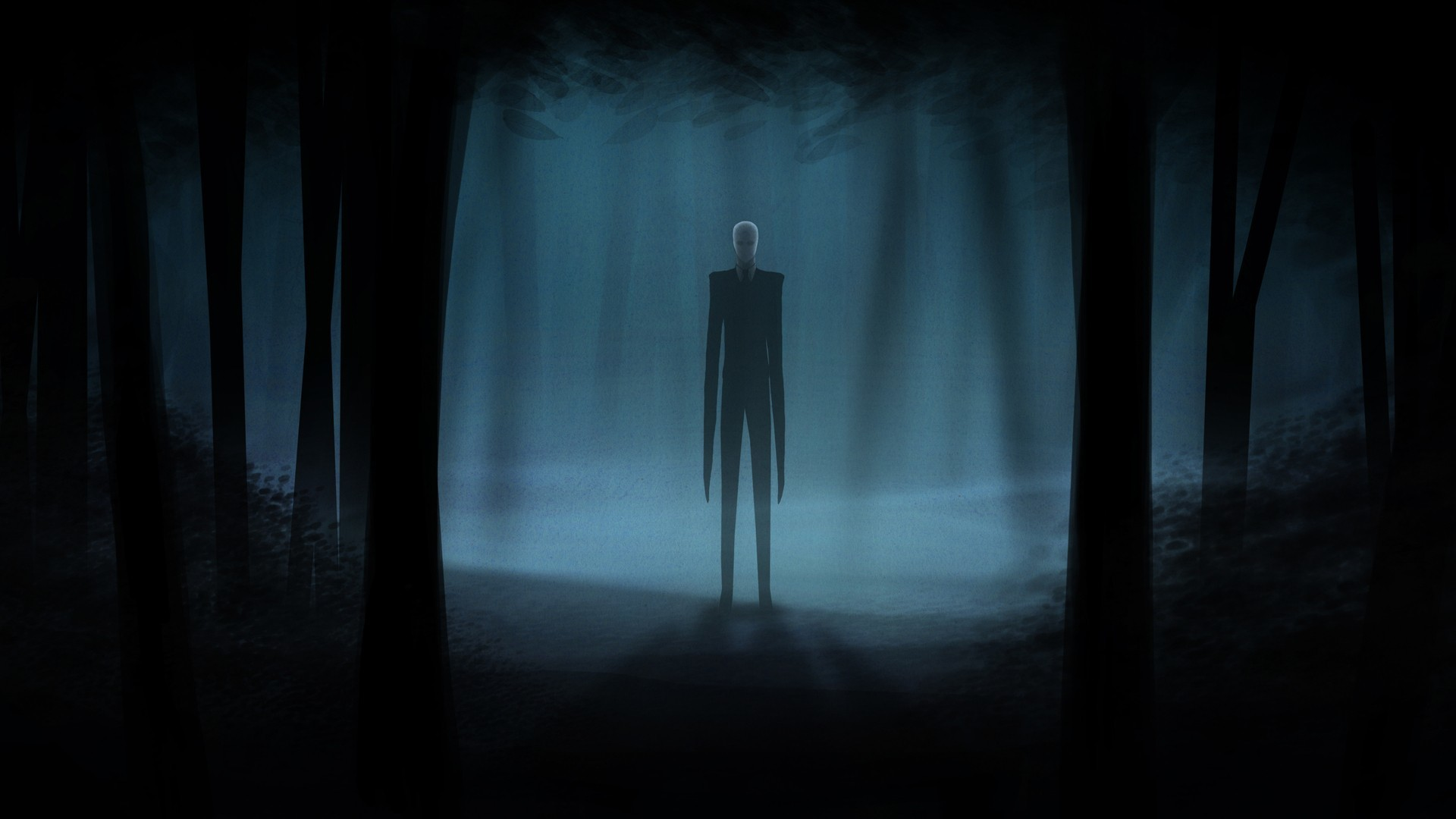 Slender Man Creepy Dark videogames dark horror trees forest wallpaper .