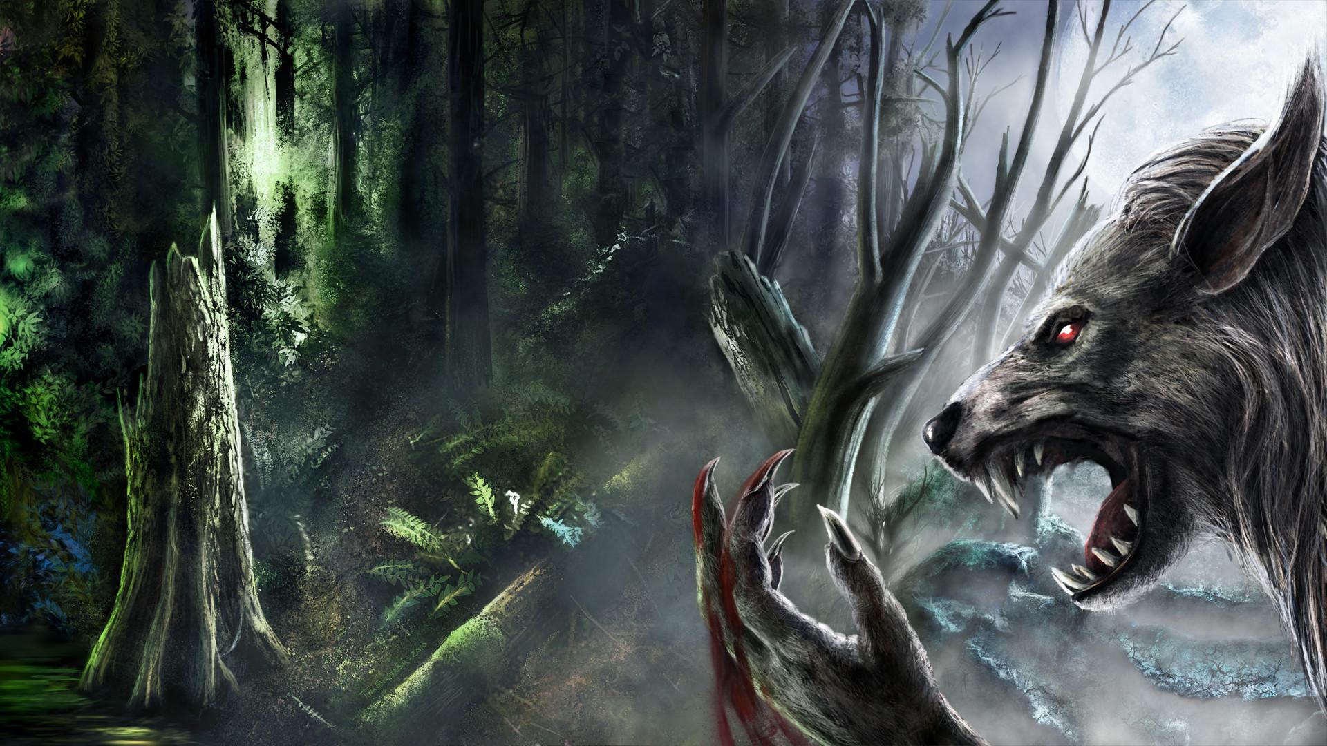 Werewolf fantasy art dark monster creatures blood fangs trees forest spooky  creepy scary evil wallpaper |