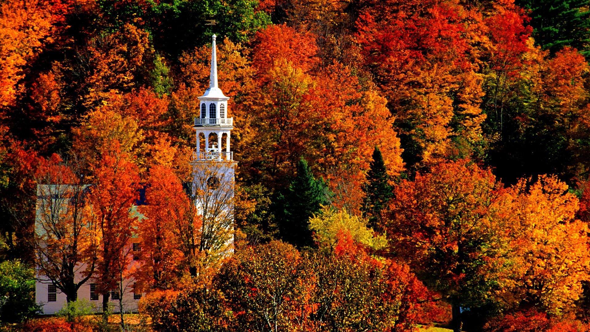 Church in Peak Fall Color, Strafford – – Full HD Wallpaper