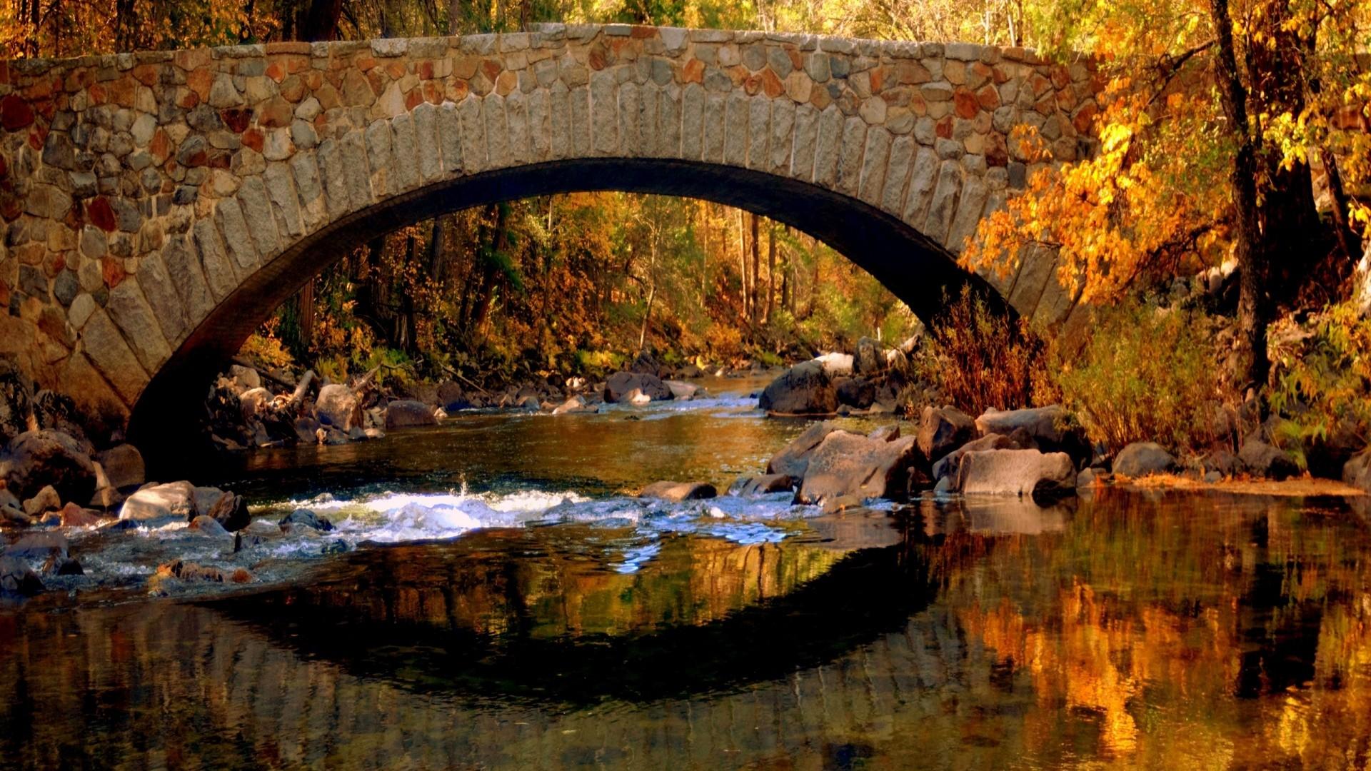 Bridge in autumn desktop PC and Mac wallpaper