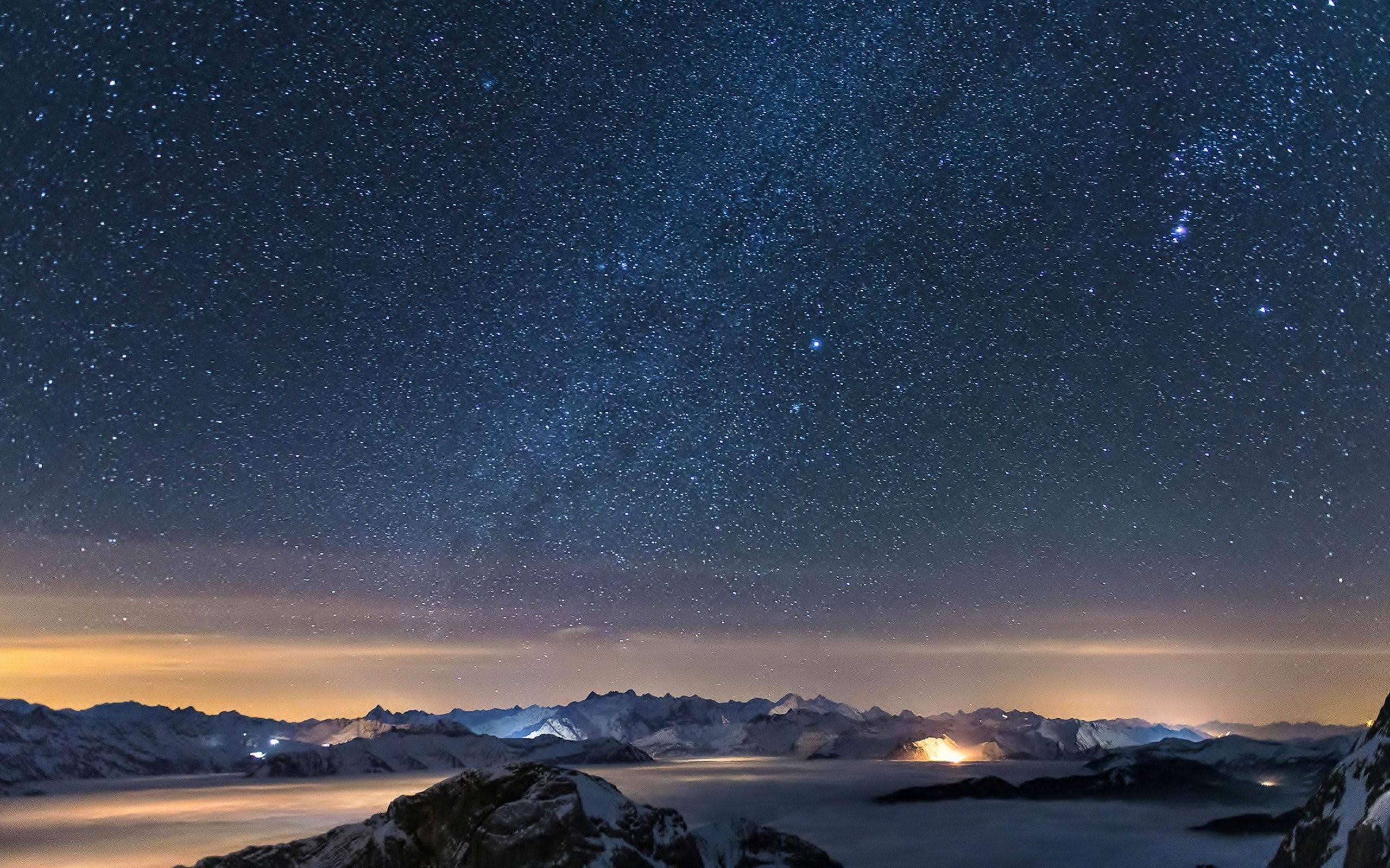 nature mountain galaxy night landscape fog stars ultrahd 4k wallpaper .