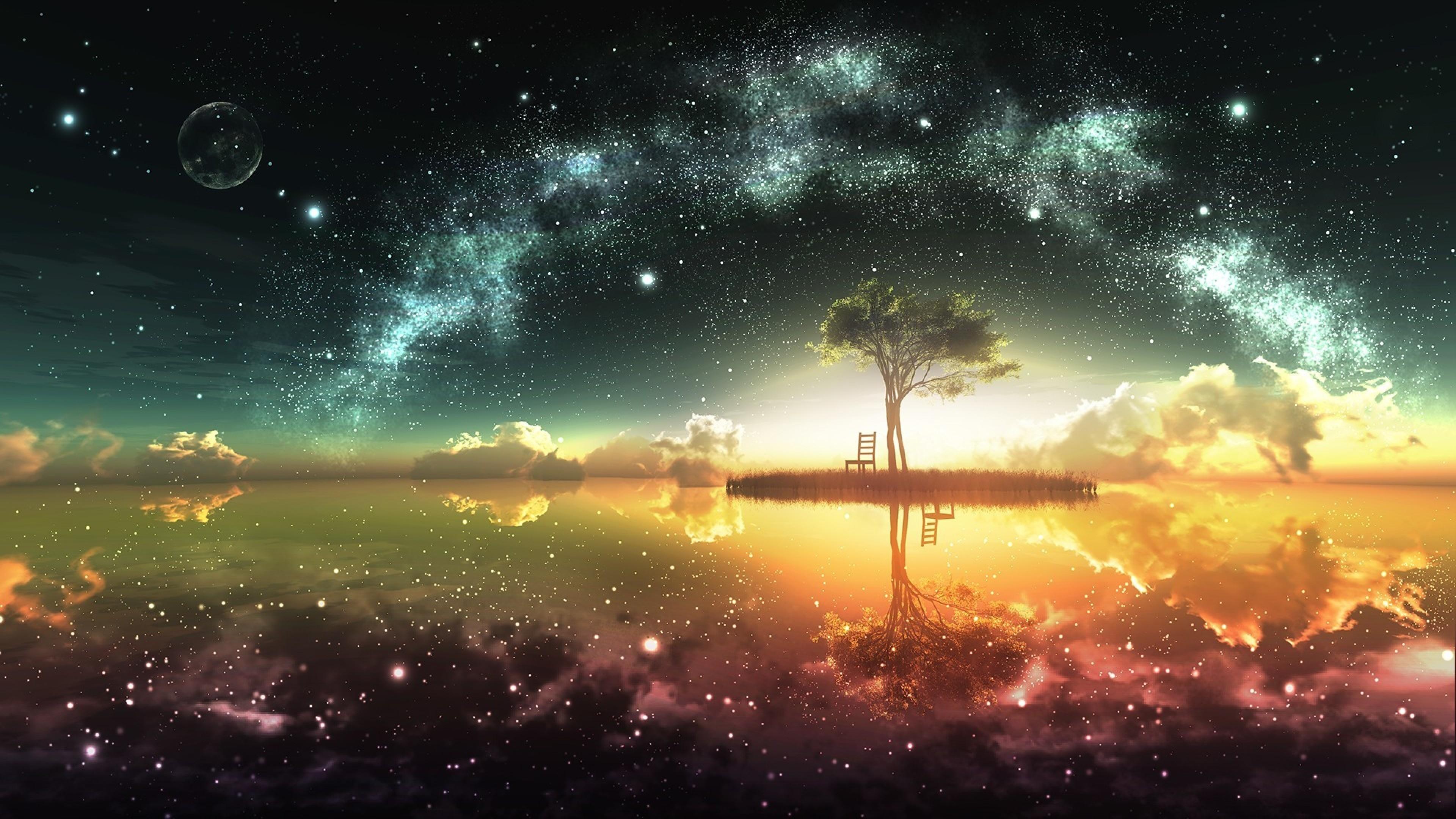 Wallpaper lake, sunset, trees, landscape, beach, art, night,  reflection | Landscape | Pinterest | Beach art, Lakes and Landscaping