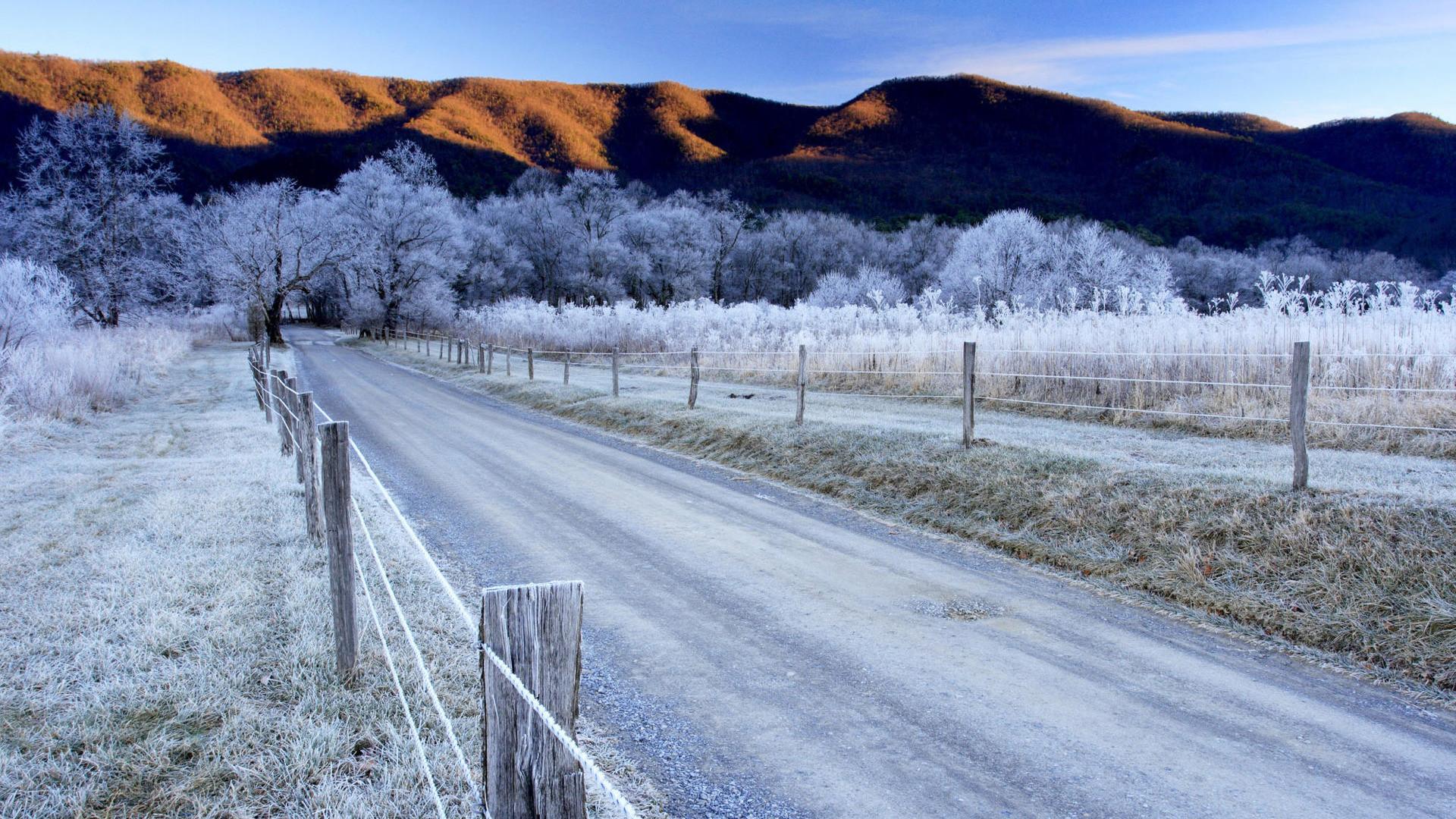 nice Harsh Winter Road Desktop Image