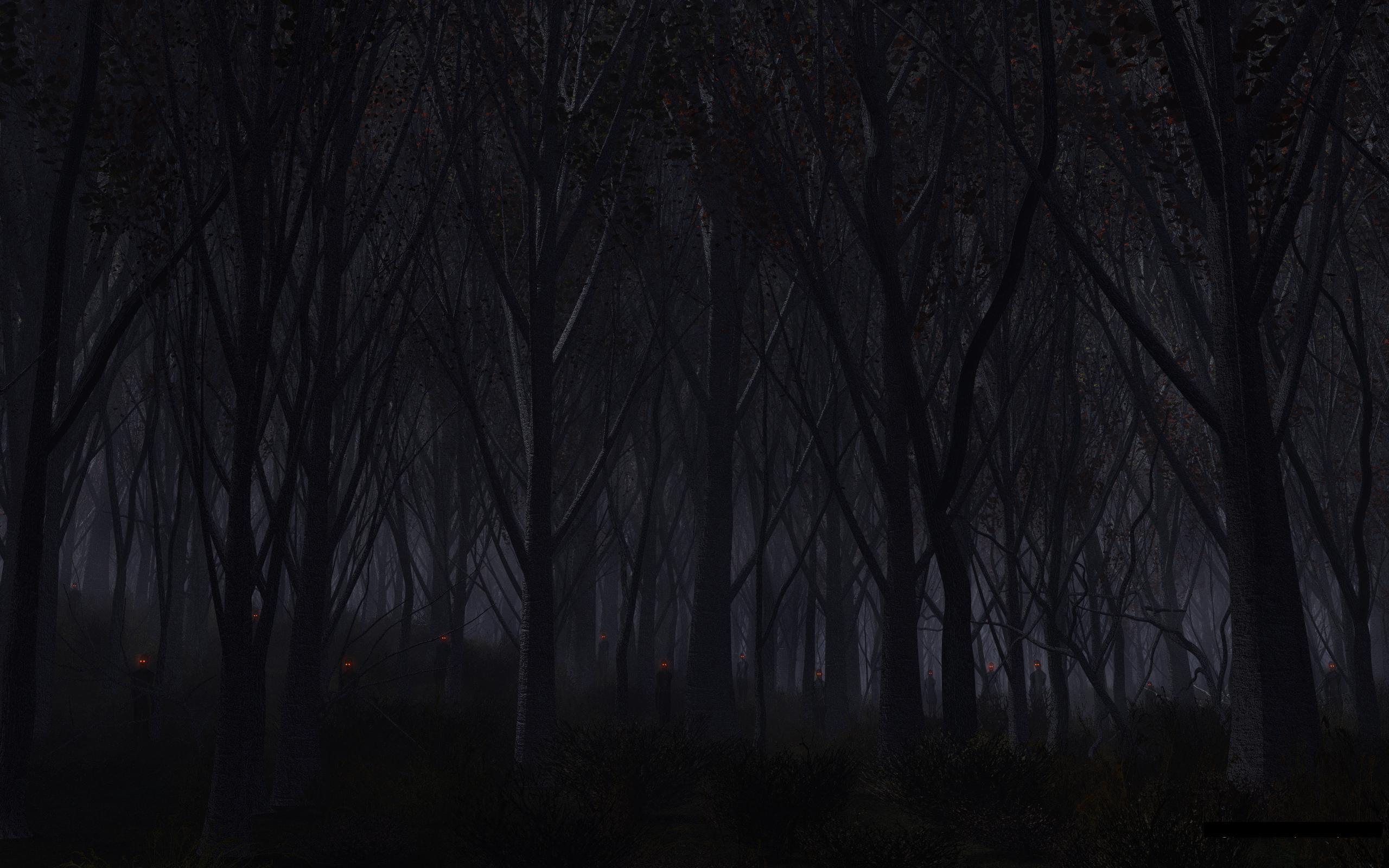 Forest Trees Night Creepy demons creature monsters evil dark wallpaper .