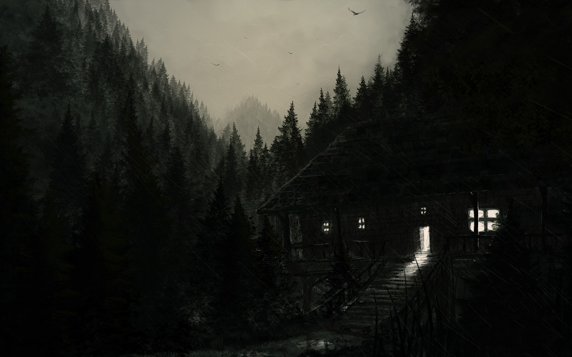 Dark spooky creepy cabin houses architecture buildings trees forest  landscapes night lights artistic haunted halloween seasonal wallpaper |  …