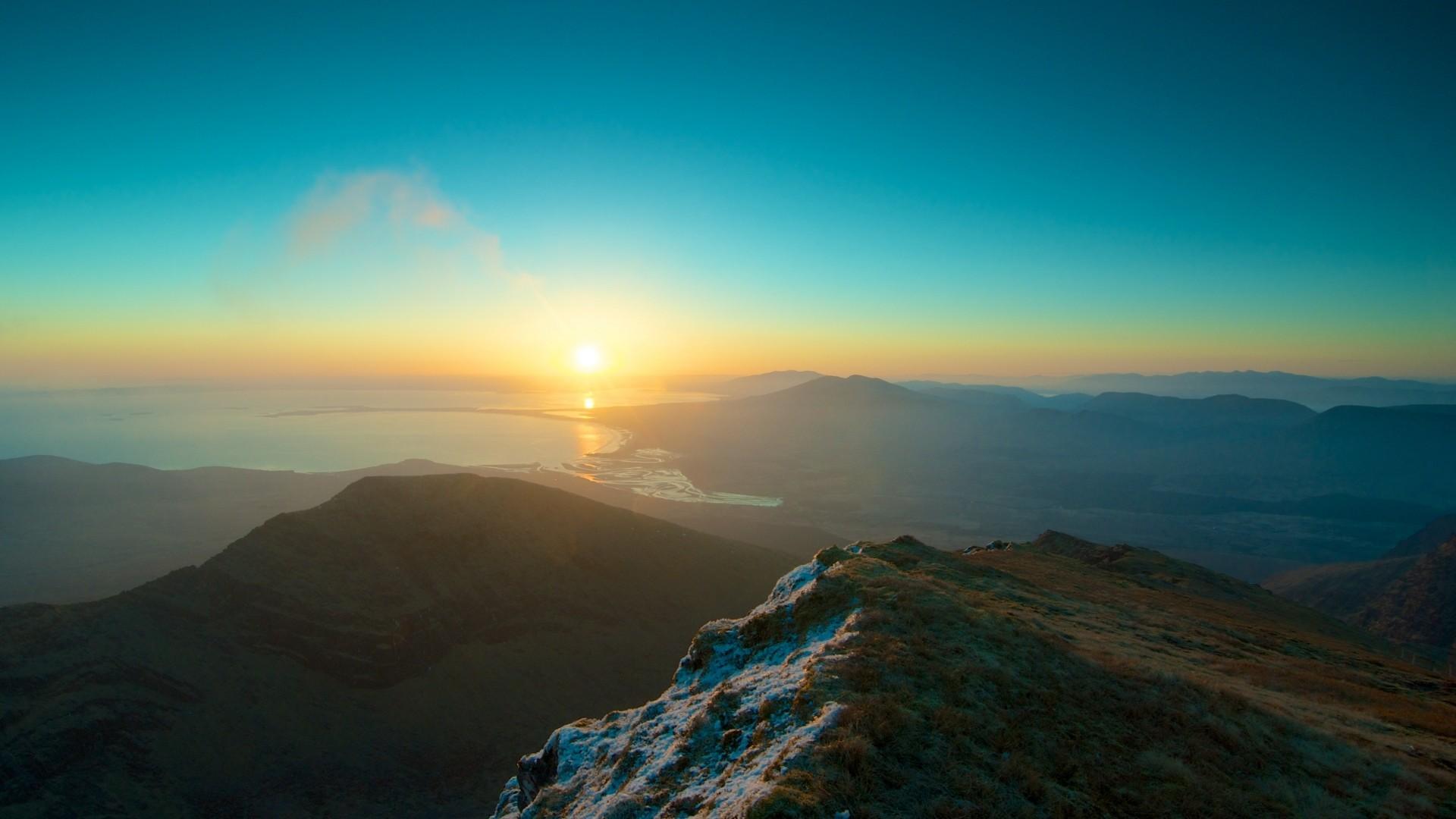 … Background Full HD 1080p. Wallpaper mountains, sky, sunset,  peaks