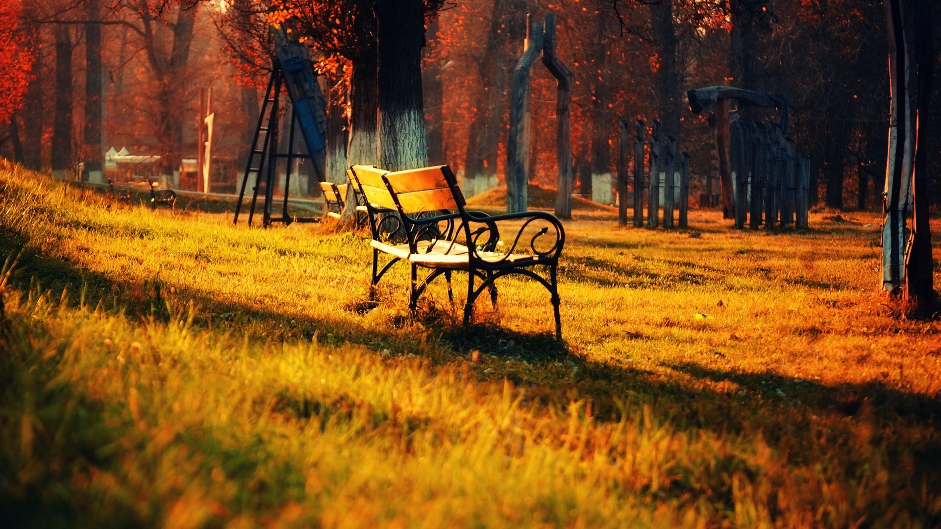 Park Trees Sunset Sunrise Bench Wallpaper Hd 1080p Nature Green – 1920×1080
