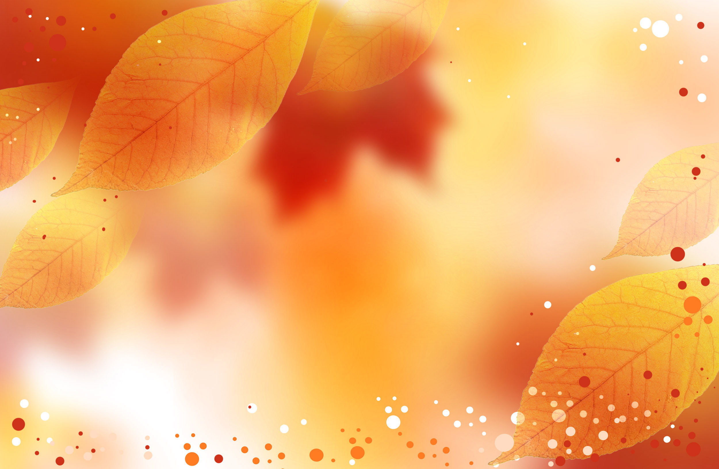 Fall colors on the background with Autumn leaves and white, orange and red  dots as spread and highlights.