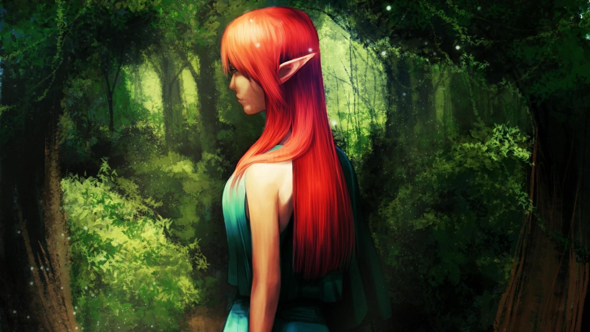 Wallpaper elf, girl, forest, green