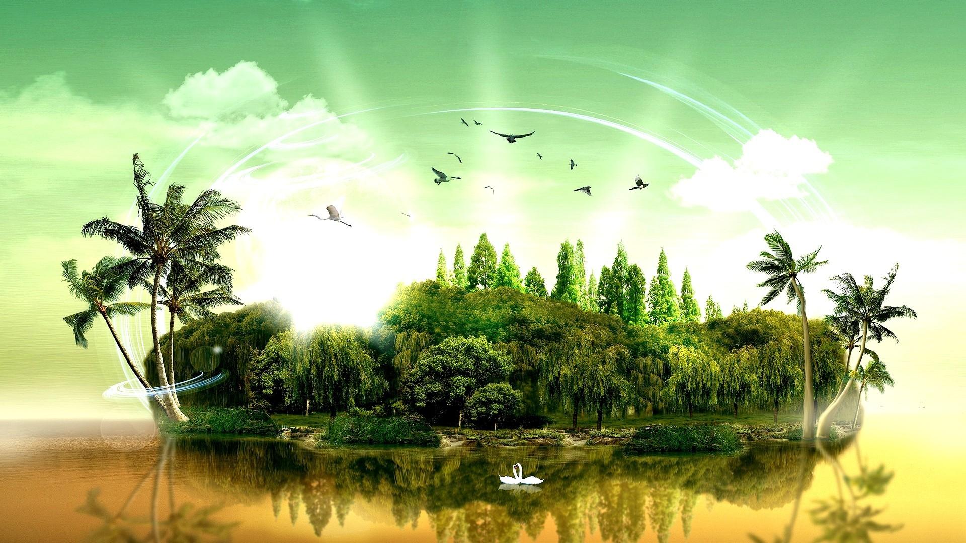 fantasy island palm trees desktop wallpaper | ololoshenka | Pinterest |  Fantasy island, Palm and Wallpaper