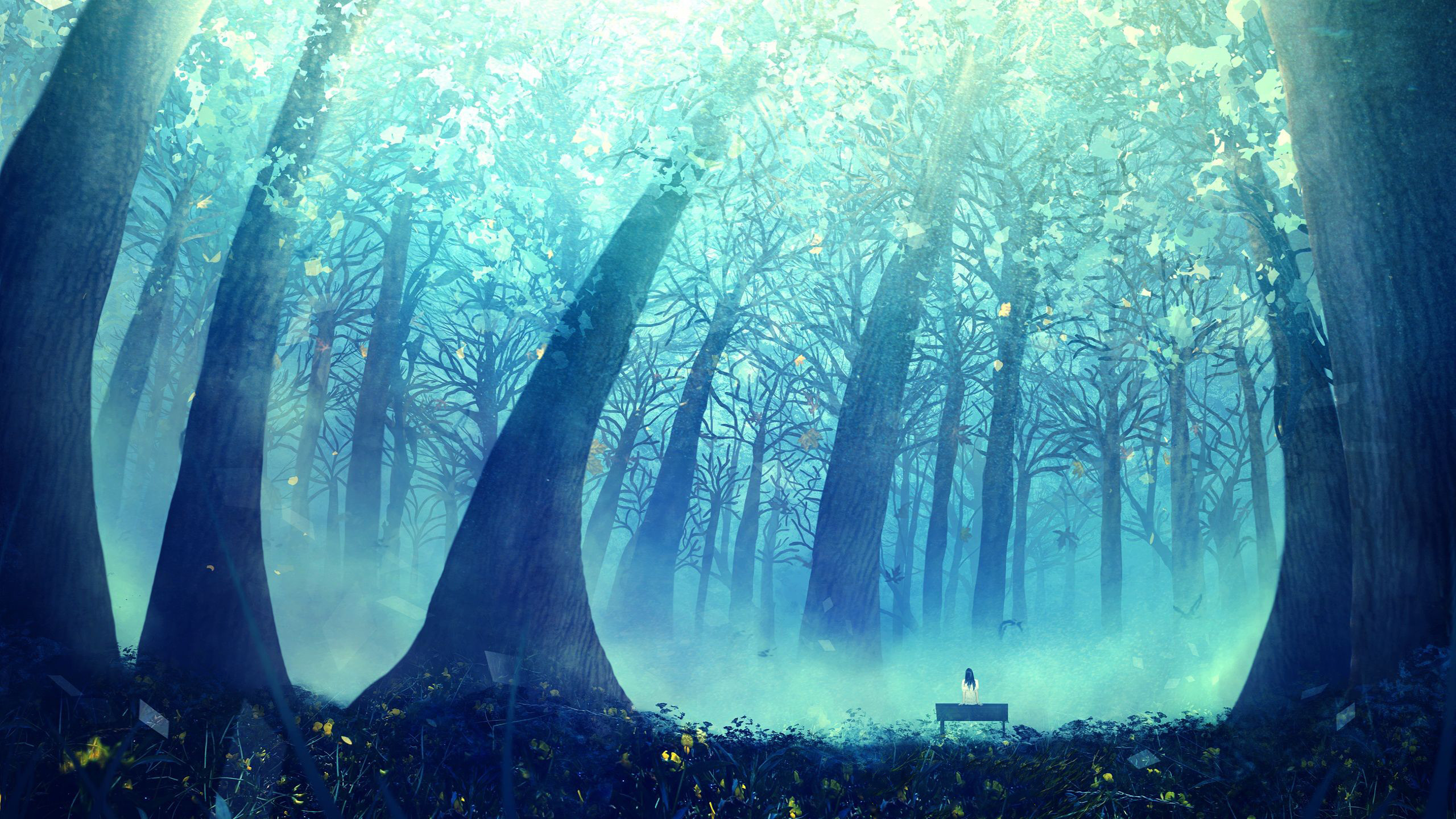 Deep Blue Forest wallpaper