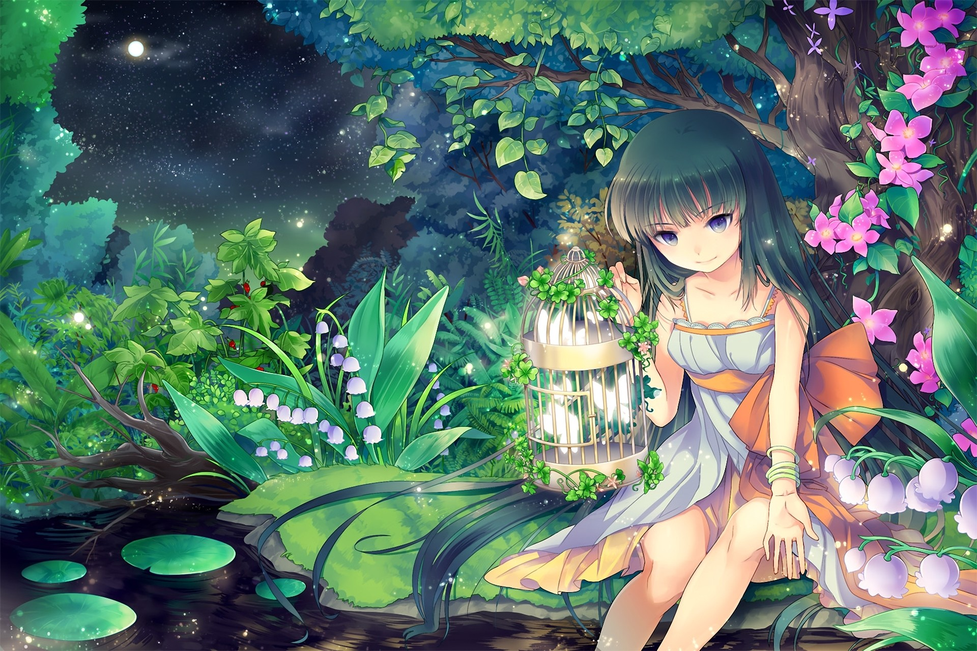 Anime – Girl Anime Purple Eyes Spring Pond Flower Tree Birdcage Night Moon  Wallpaper