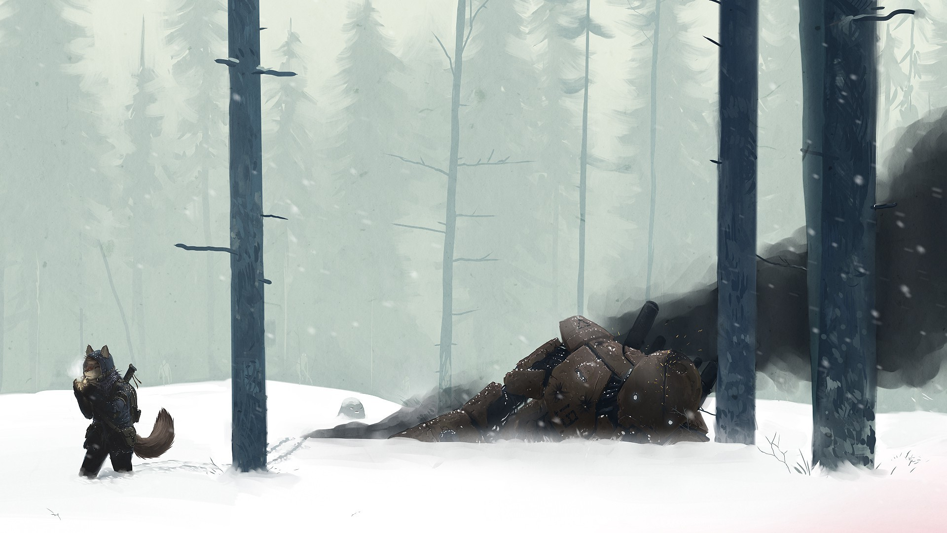 snow, Mech, Creature, Wood, Forest, Winter, Anime, Furry, Smoking  Wallpapers HD / Desktop and Mobile Backgrounds