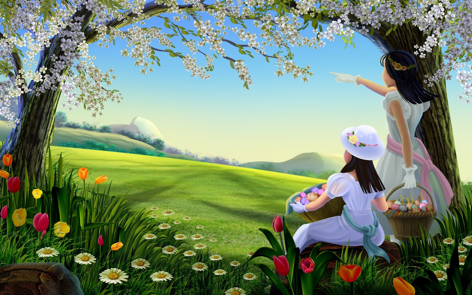 Best easter lady spring desktop wallpapers background collection