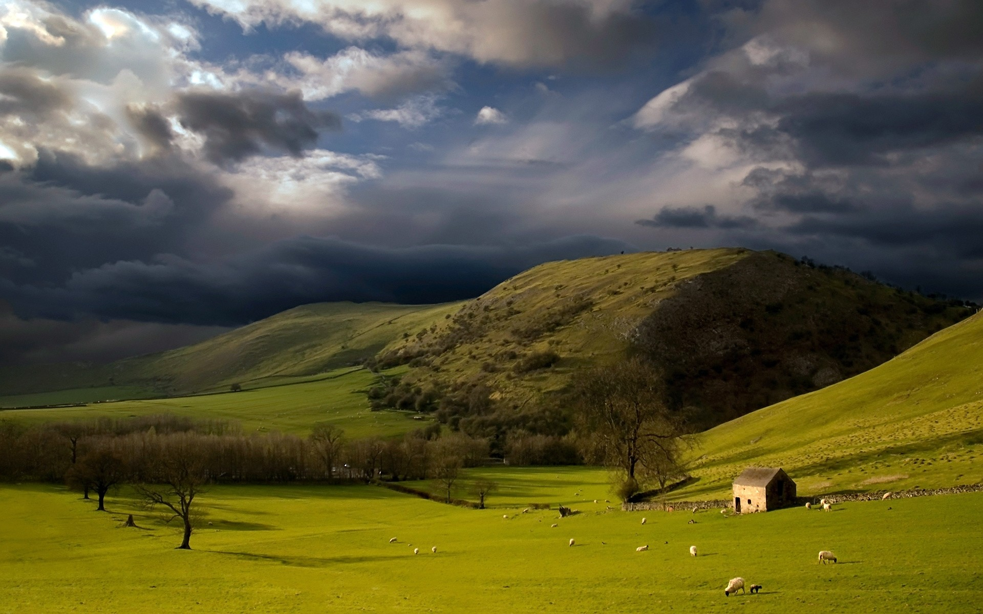 Wallpaper Height, Mountains, Slopes, Pasture, Cloudy, Sky, Storm, Clouds,  Sheep, Bad weather, Green