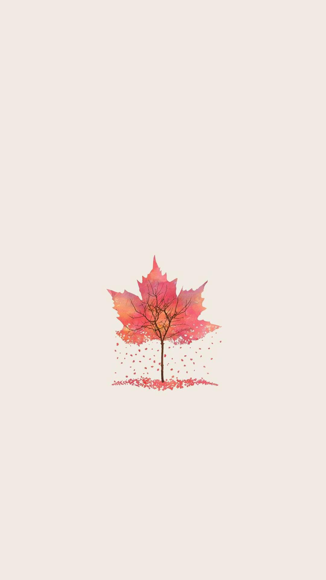 Autumn Tree Leaf Shape Illustration iPhone 6+ HD Wallpaper