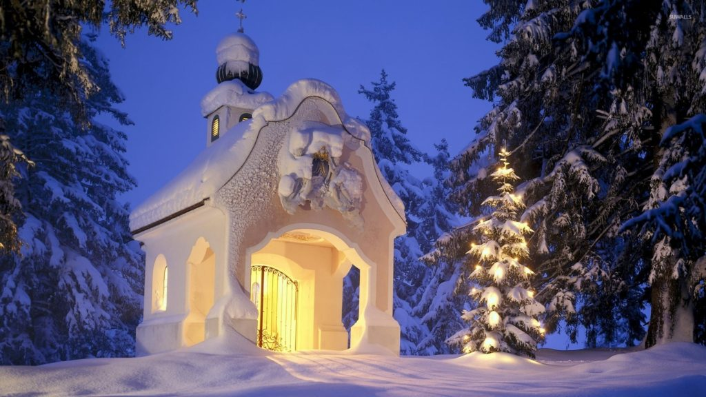Small church in the snowy forest wallpaper jpg