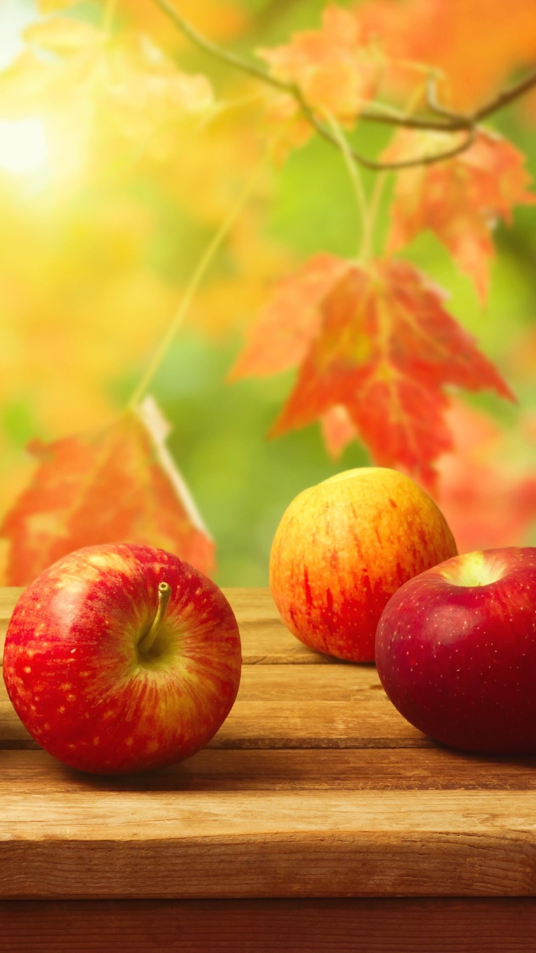 Iphone wallpaper Fall apples on a table …