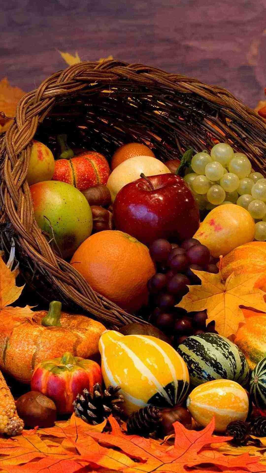 Various Autumn Fruit Harvest 2015 Thanksgiving iPhone 6 Plus Wallpaper –  Pumpkin , Apple, Grape,