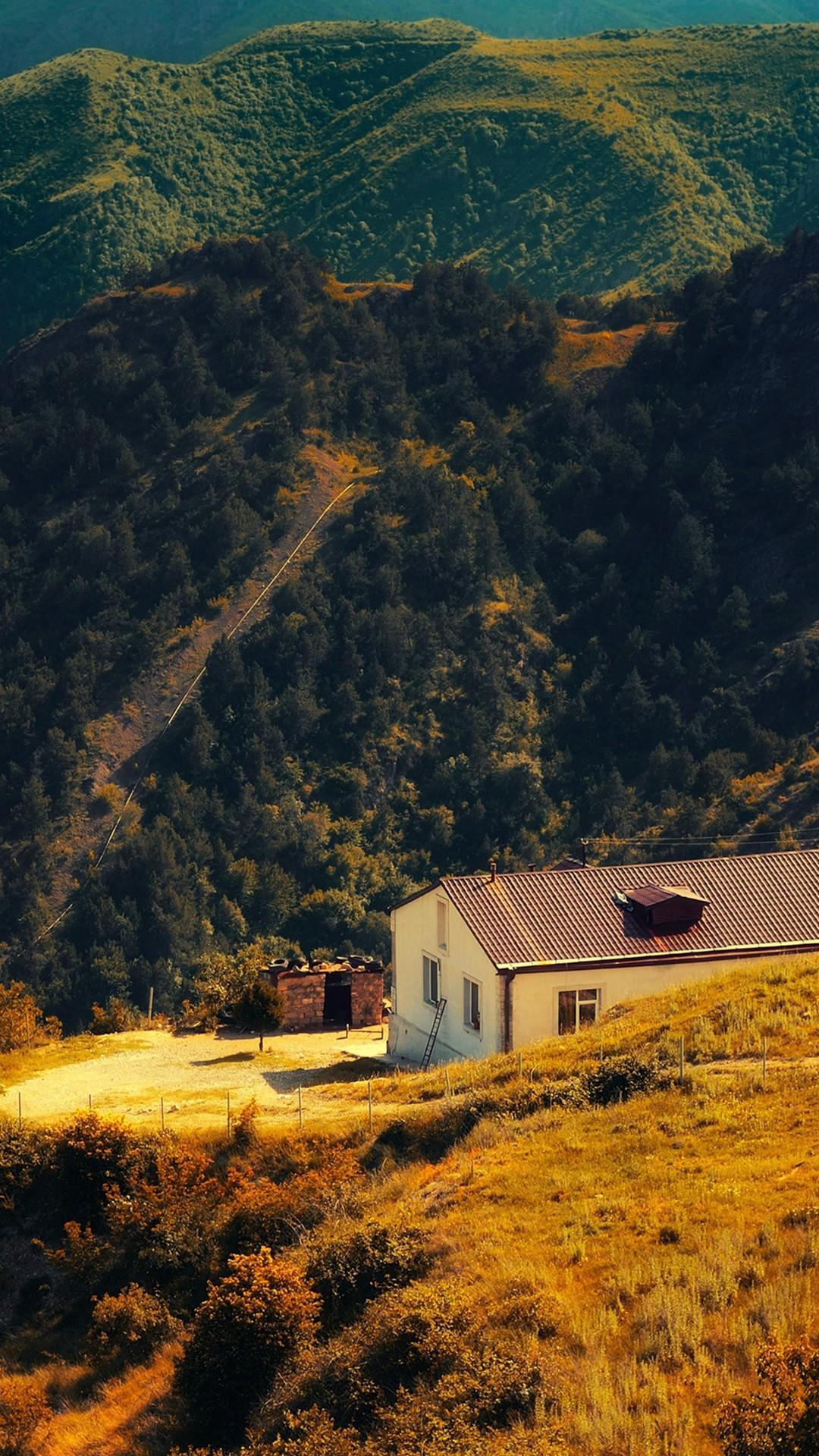 Karabakh Armenia Nature With Mountain House Fall iPhone 6 wallpaper
