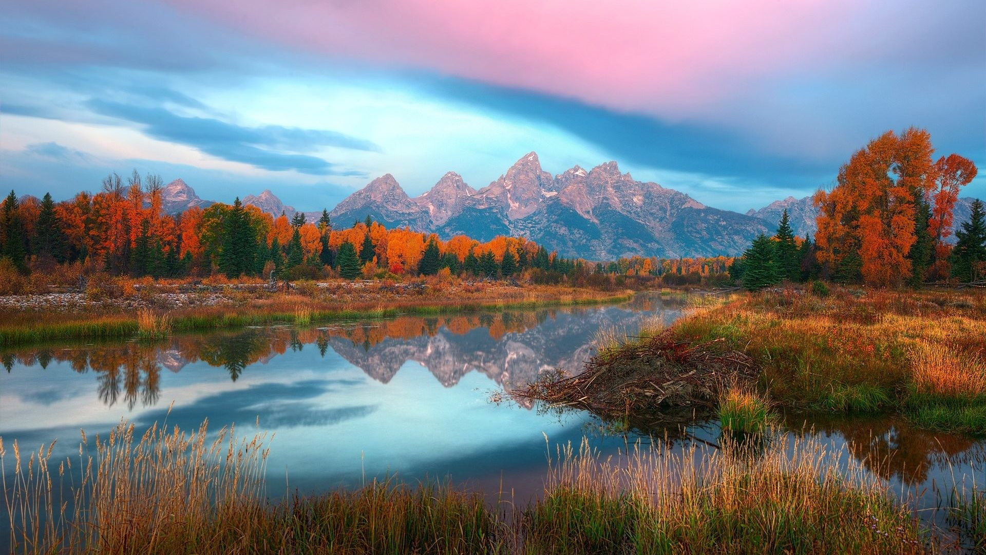 Reflection Lake Autumn River Usa Mountain Wyoming Nature Hd Wallpapers For  Pc – 1920×1280