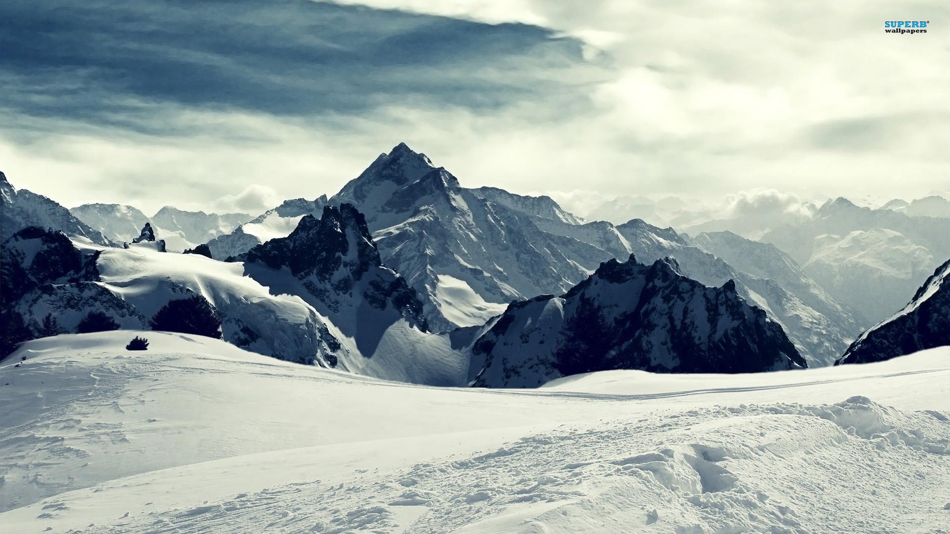 Snowy Ski Mountains. Creek in the snowy mountains wallpaper 1920×1080