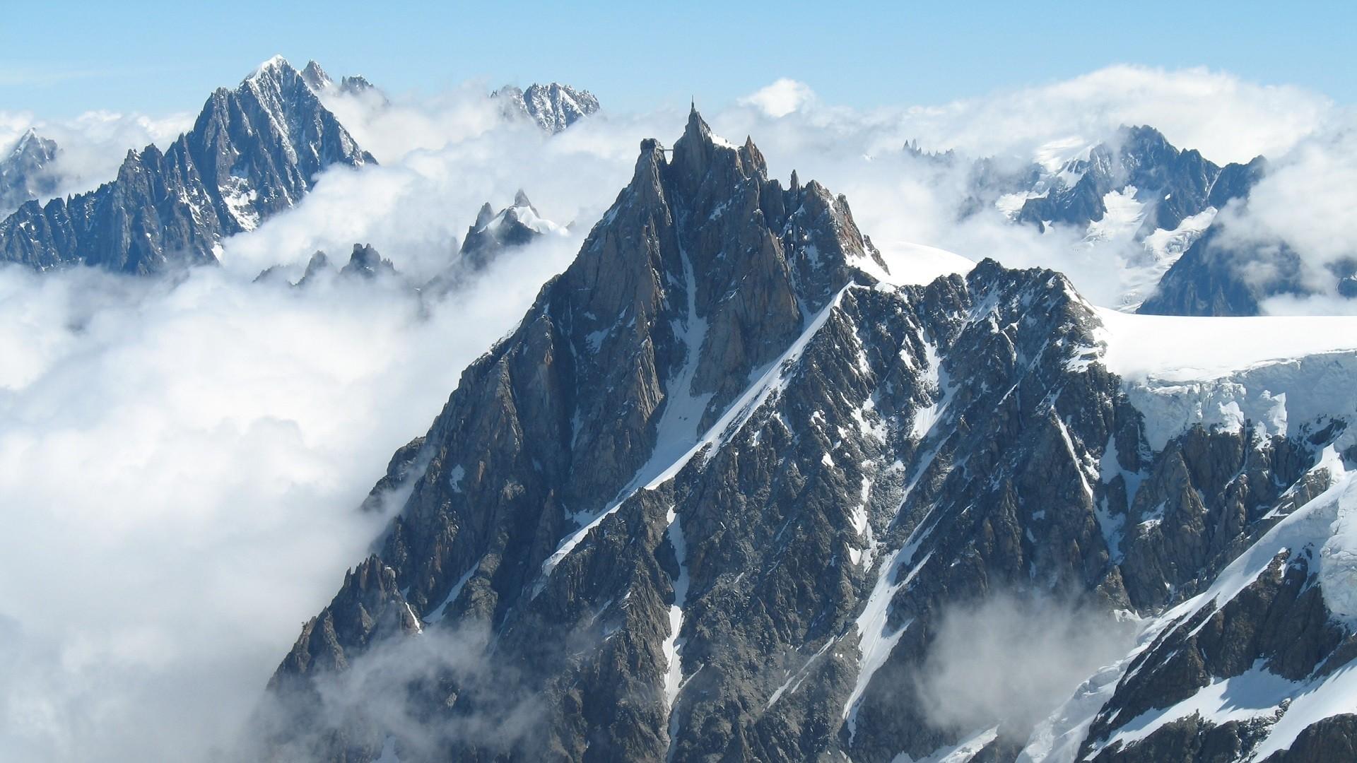 Wallpaper mountains, fog, sky, snow, peaks