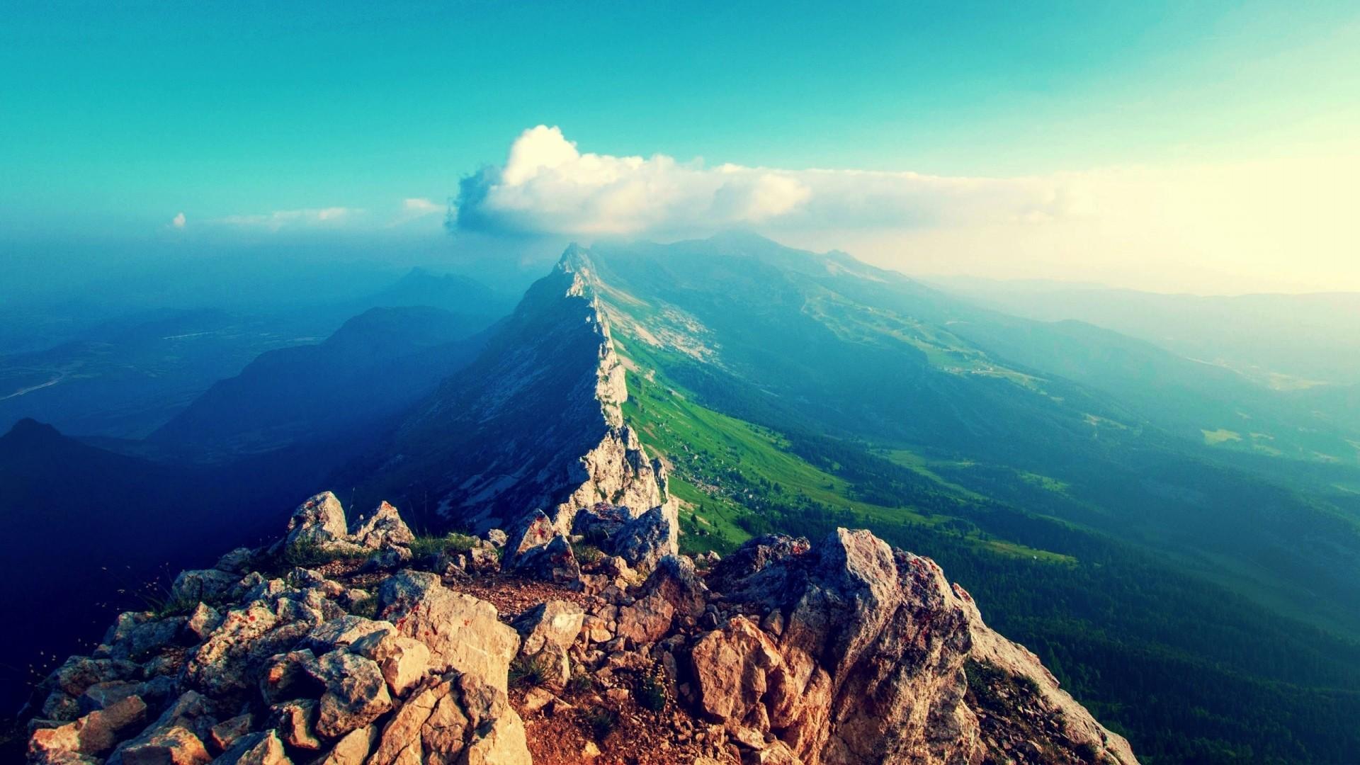 Wallpaper mountains, sky, clouds, mountain range, stones