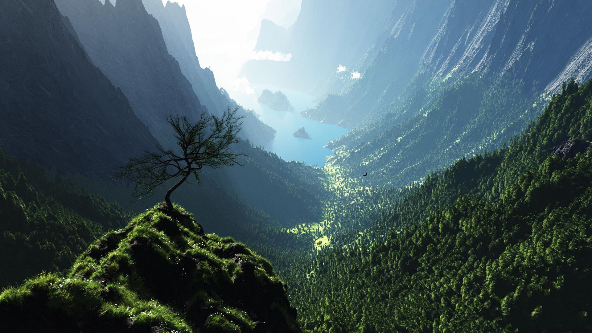 Earth – Mountain Tree Nature River Wallpaper