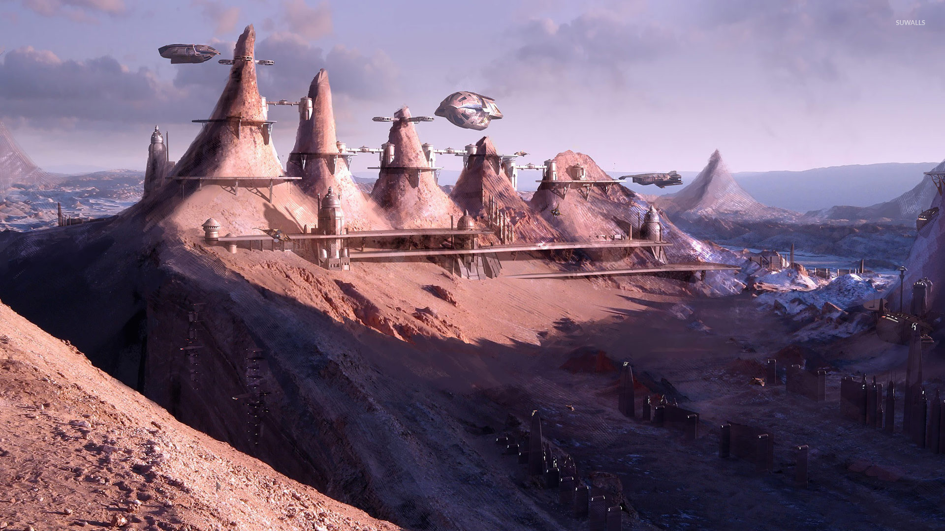 Futuristic city in the mountains wallpaper jpg