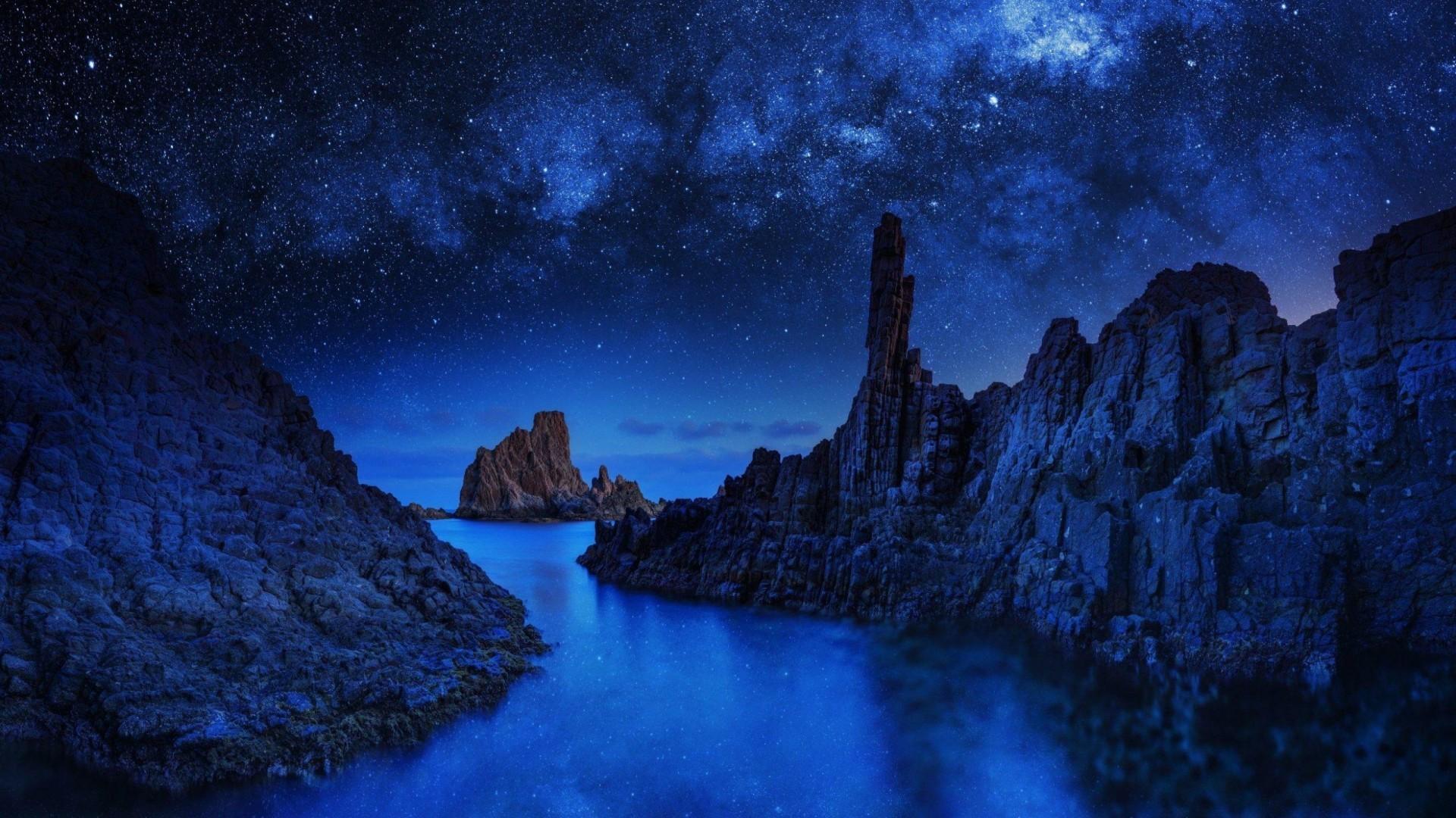 Ocean blue Sea beautiful night wallpaper (1920×1080) Need #iPhone #6S #Plus