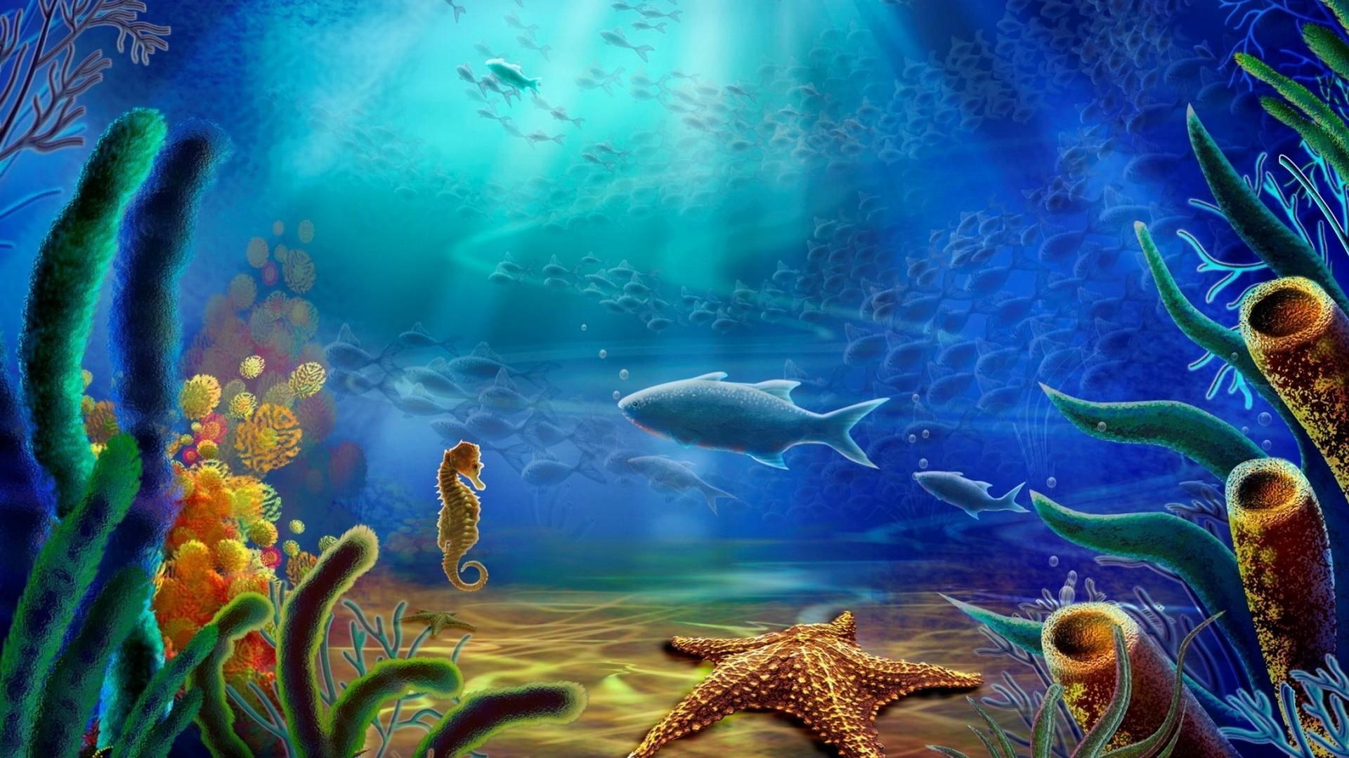 Cartoon art vector color ocean underwater wallpaper   .