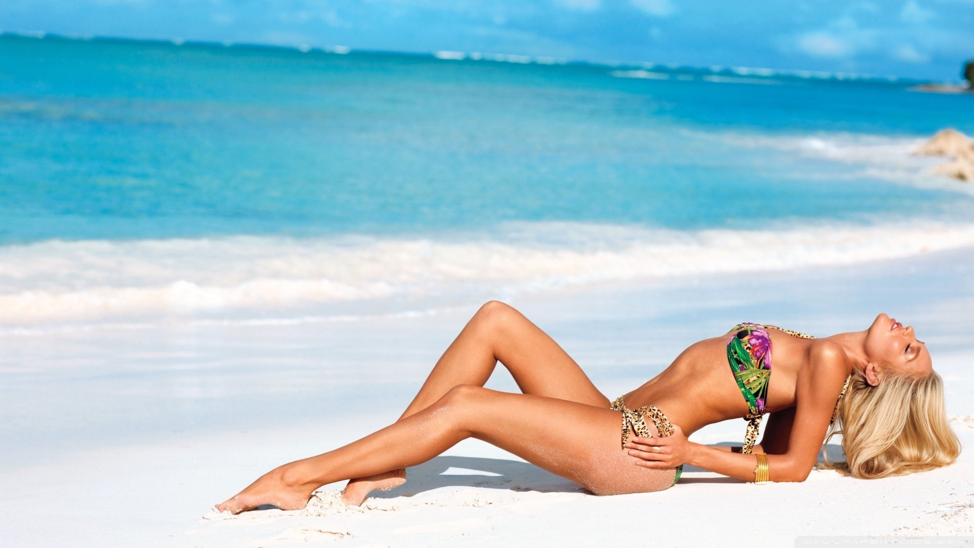 HD 16 9. Candice Swanepoel On The Beach HD desktop wallpaper Widescreen