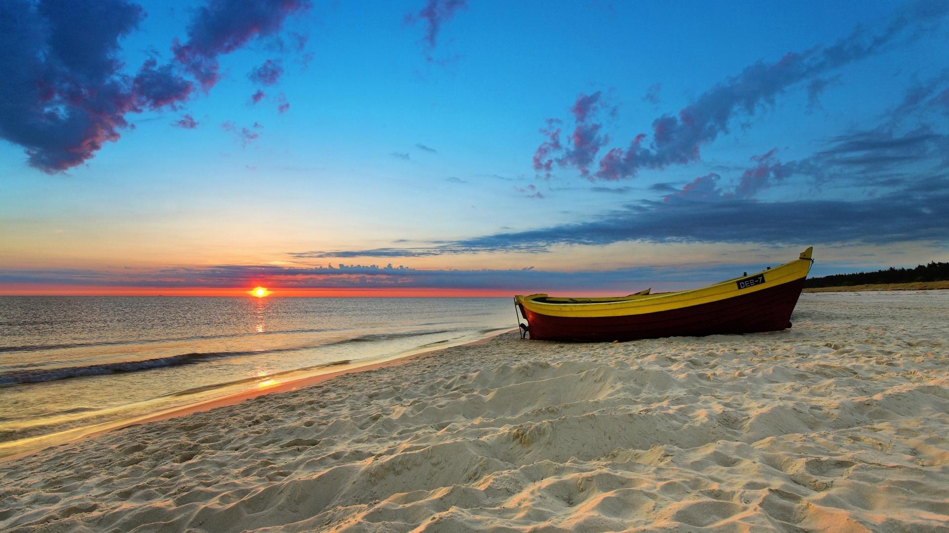 Wallpaper boat, decline, evening, romanticism, sand, beach,  horizon