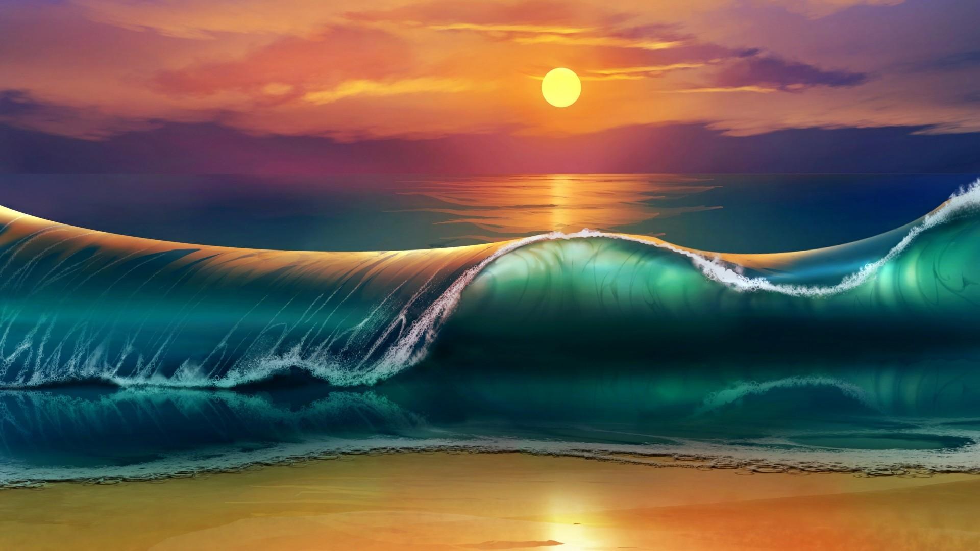 Wallpaper art, sunset, beach, sea, waves