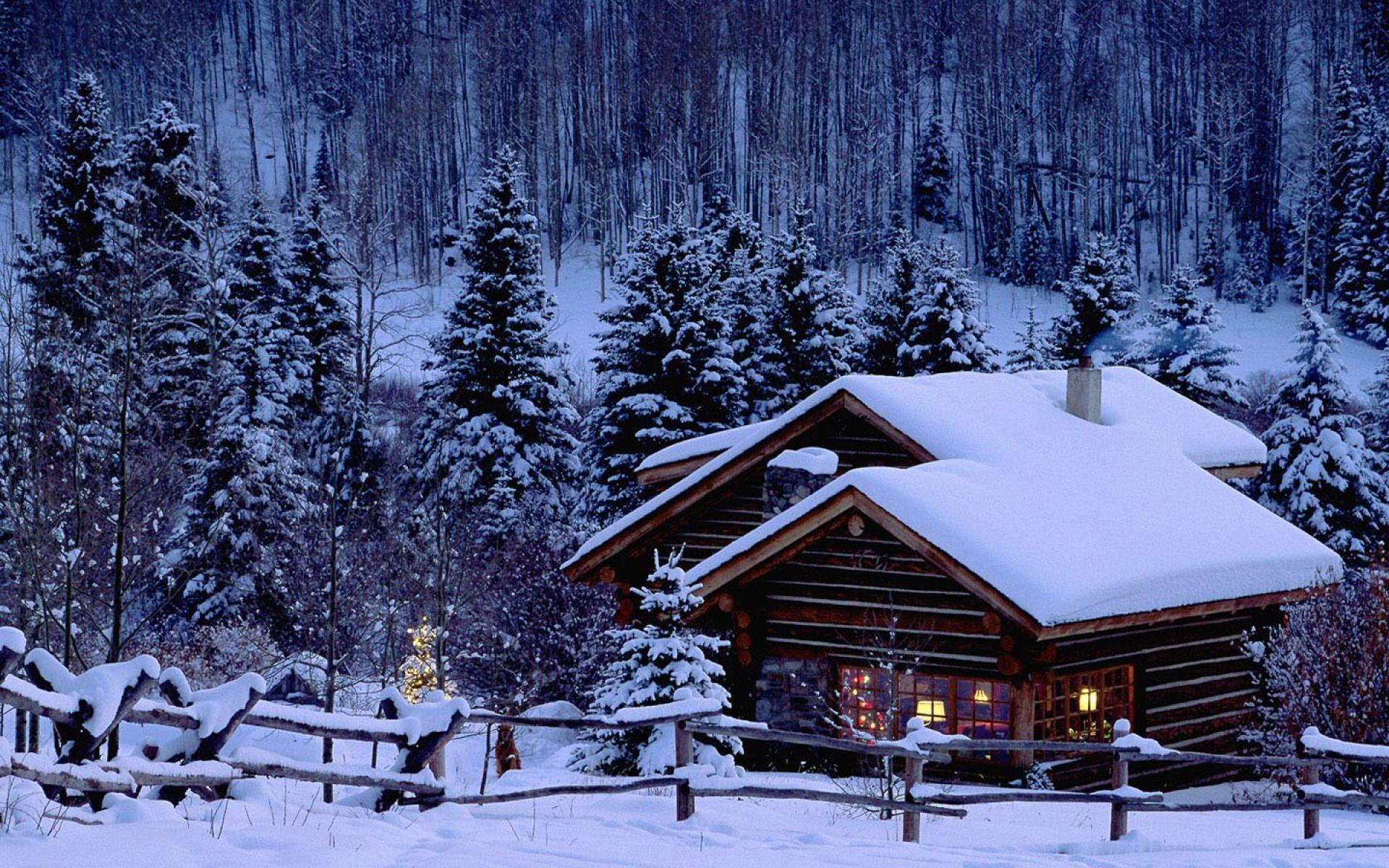 dreamy, scene, snow, wallpaper, scenery, warmly, house