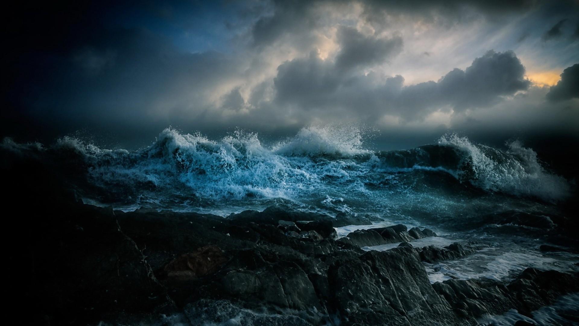 Earth – Wave Earth Ocean Blue Dark Cloud Rock Wallpaper
