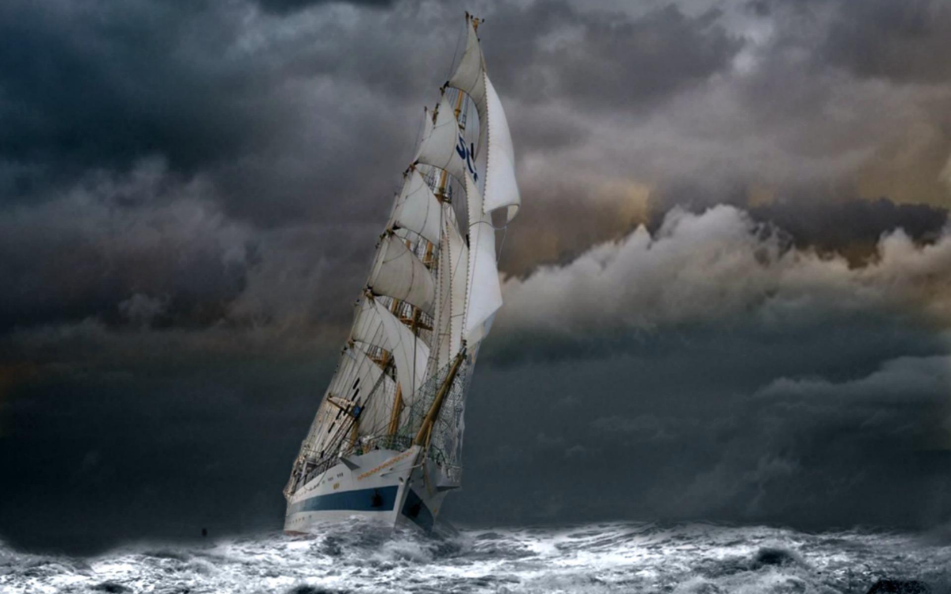 Vehicles – Sailing Ship Vehicle Sailboat Ship Storm Wave Ocean Cloud  Wallpaper