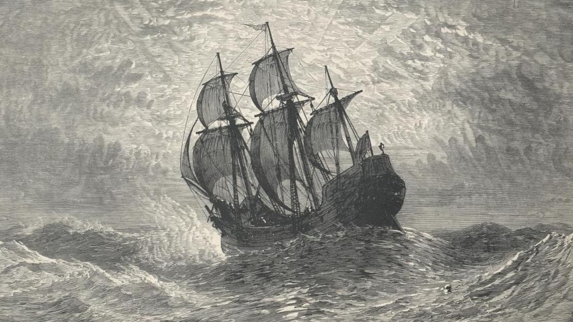 Stormy Ocean Ship Grayscale