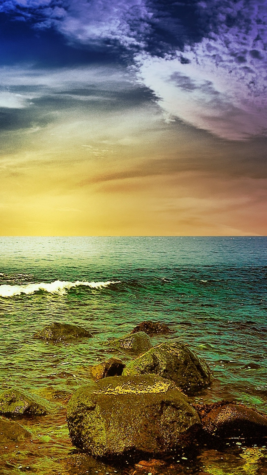 Stormy Sea Rocks Sunset Android Wallpaper …