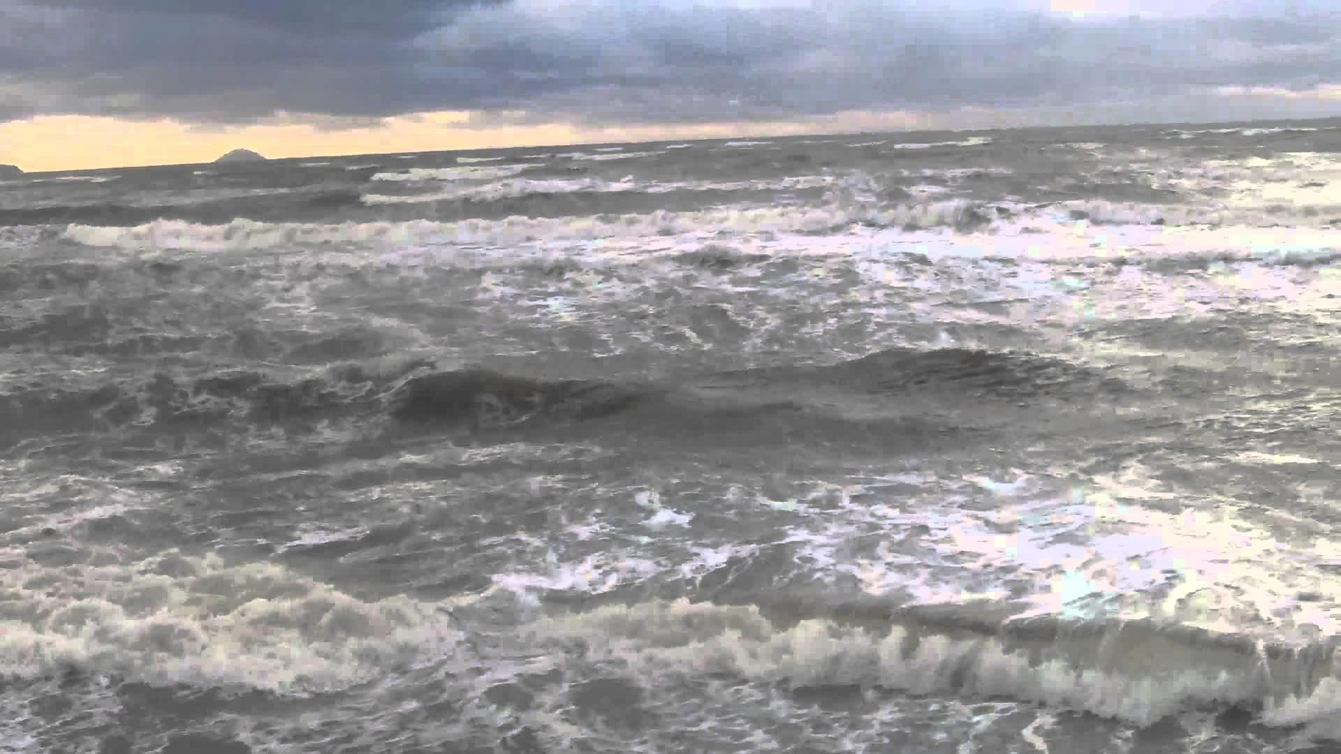 Stormy sea weather and big waves at Prestwick beach Scotland UK Europe